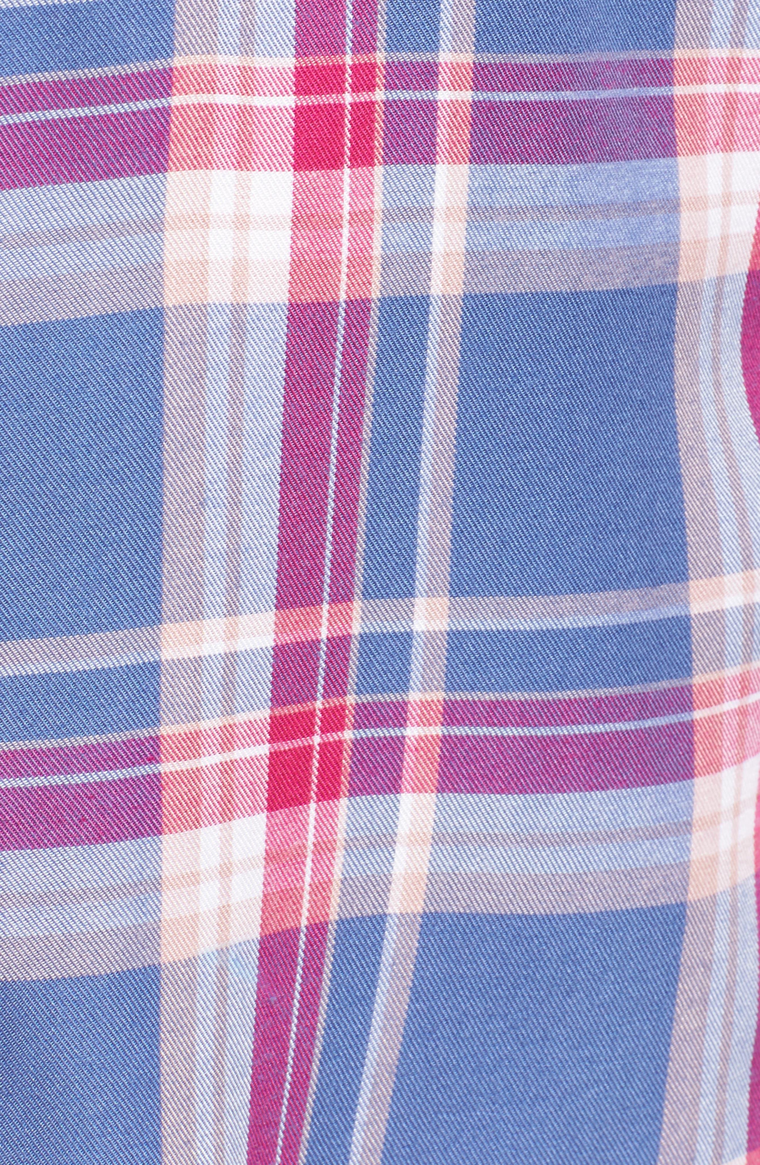 Plaid Boyfriend Shirt,                             Alternate thumbnail 6, color,                             Blue Denim Cube Plaid