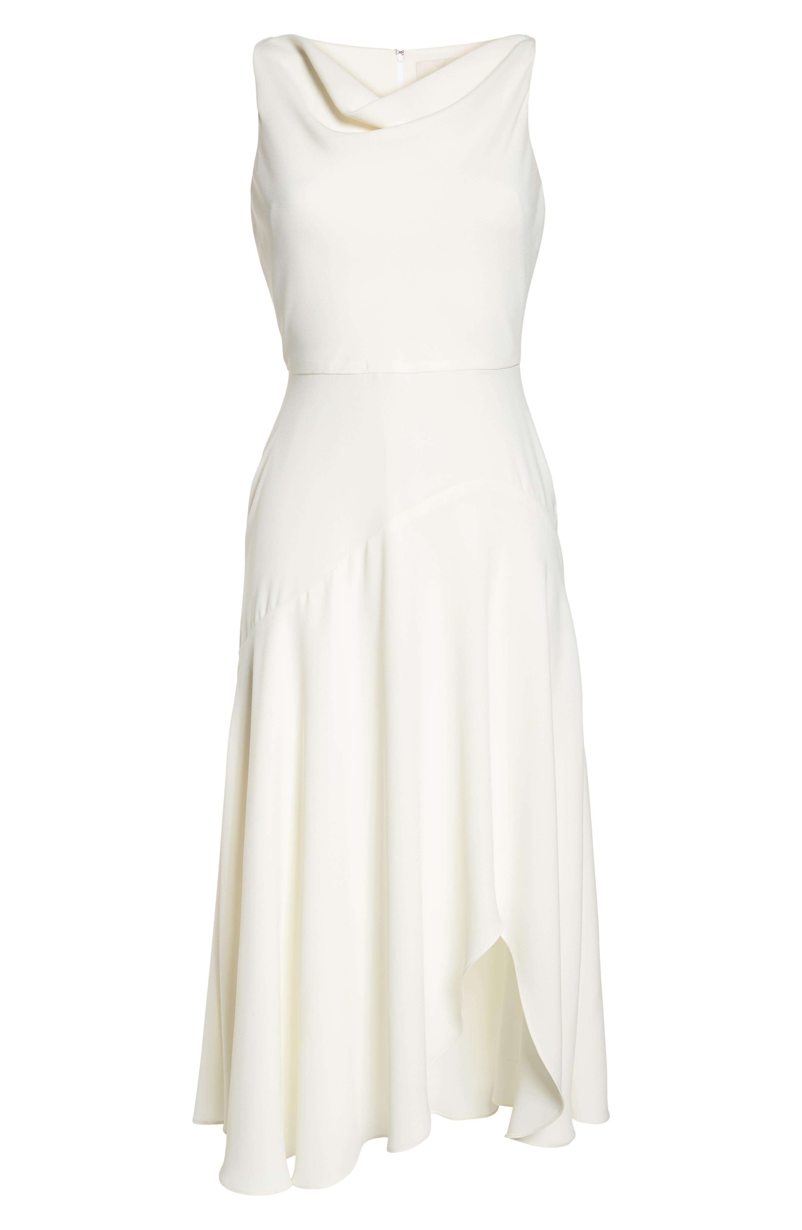 Juliet Cowl Neck Crepe Dress,                             Alternate thumbnail 8, color,                             Cloud