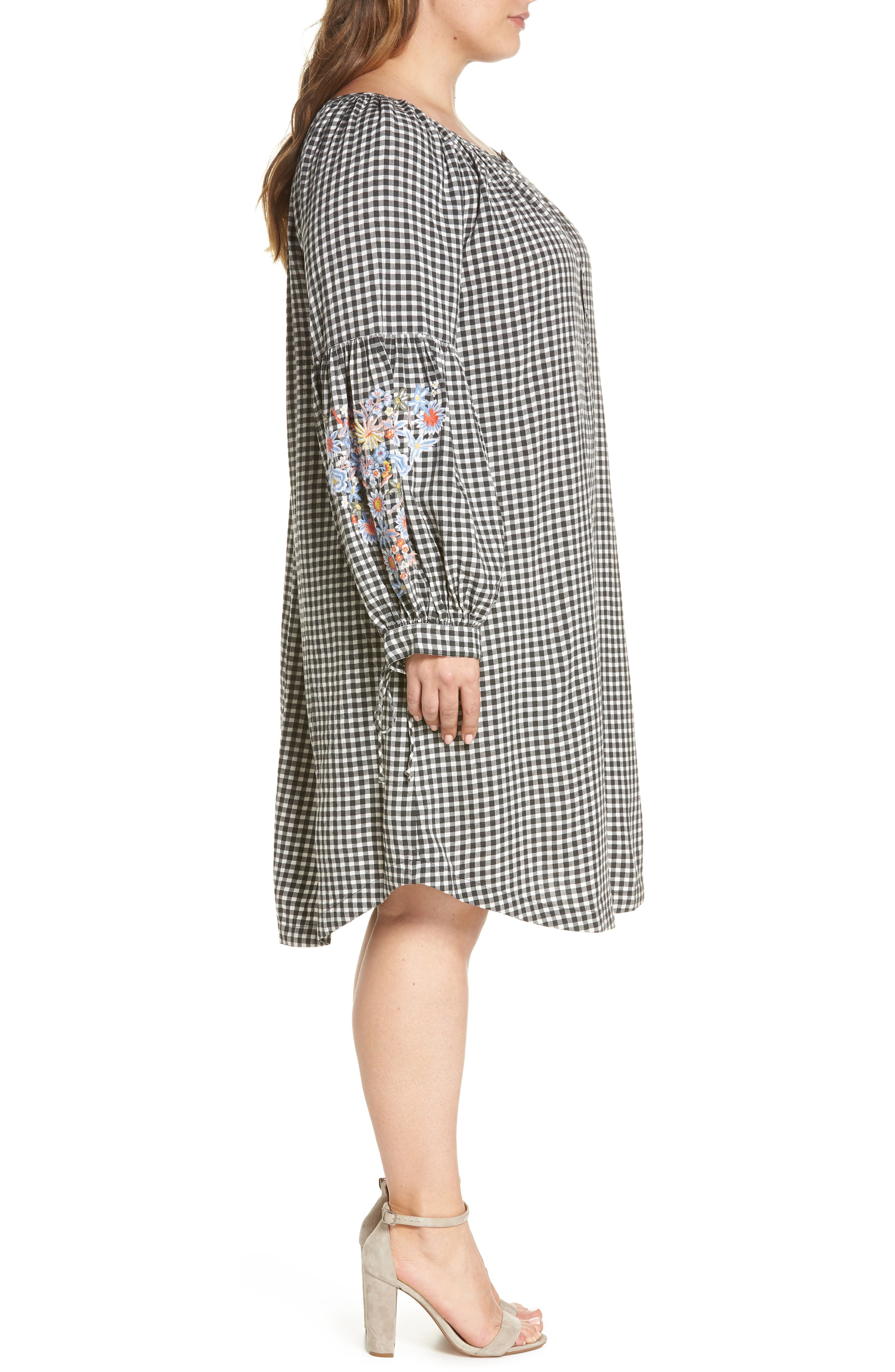 Embroidered Puff Sleeve Gingham Shift Dress,                             Alternate thumbnail 4, color,                             Black-White Gingham