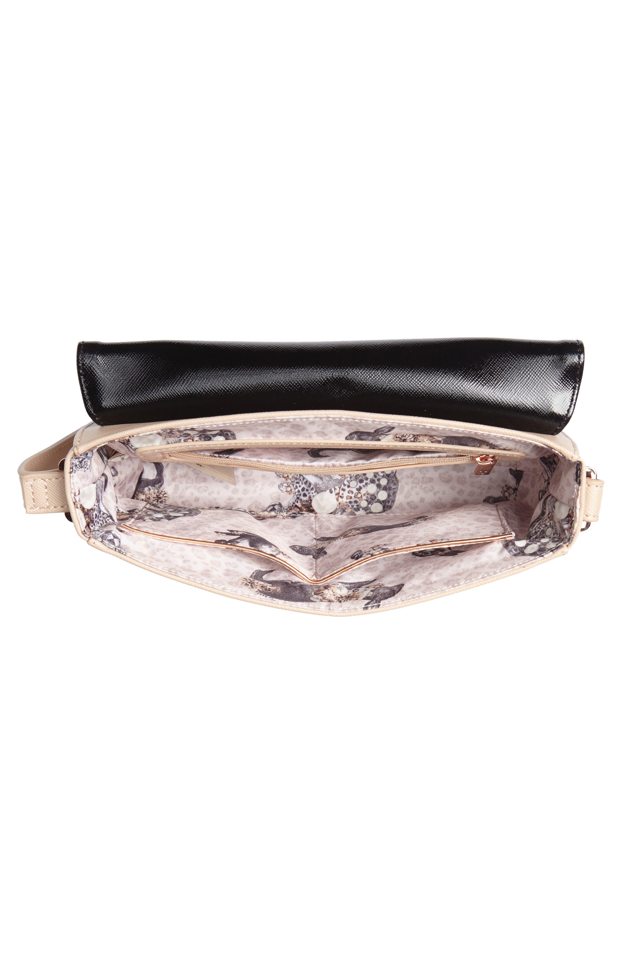 Demonda Faux Leather Crossbody Bag,                             Alternate thumbnail 4, color,                             Taupe