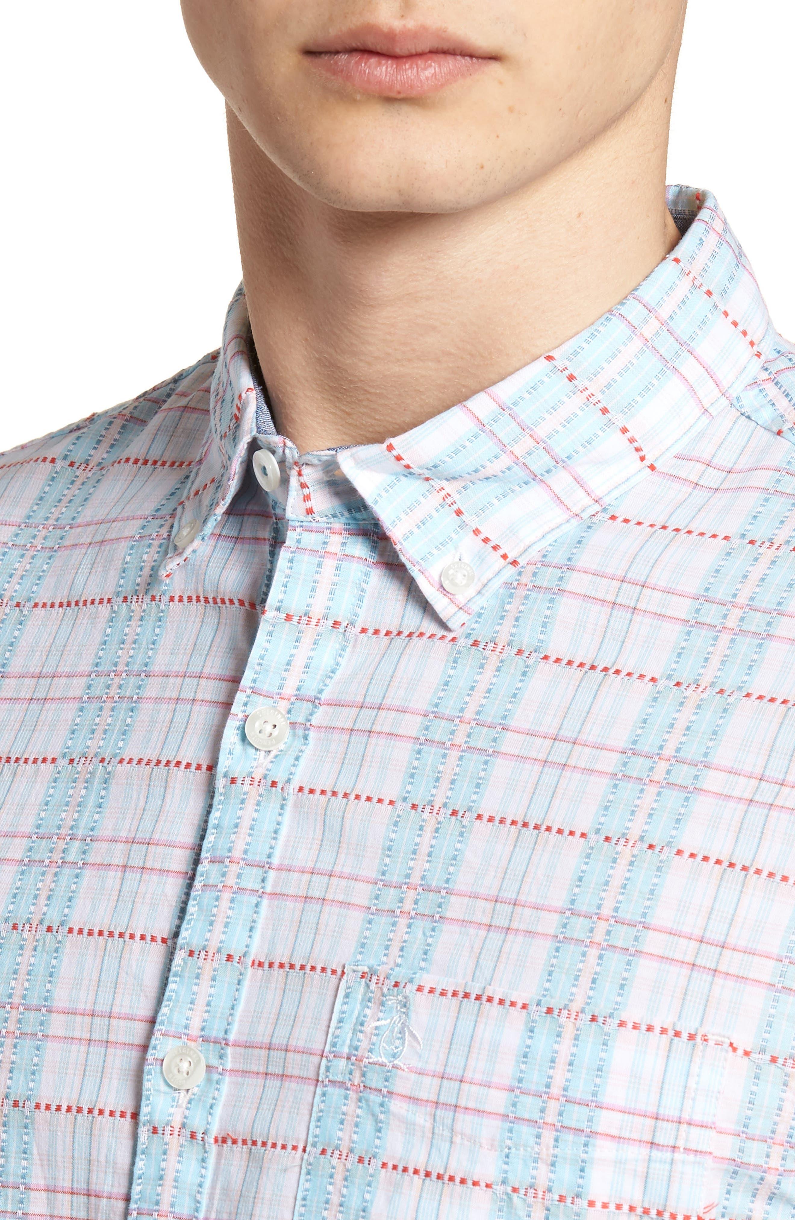 Dobby Plaid Woven Shirt,                             Alternate thumbnail 4, color,                             Bright White