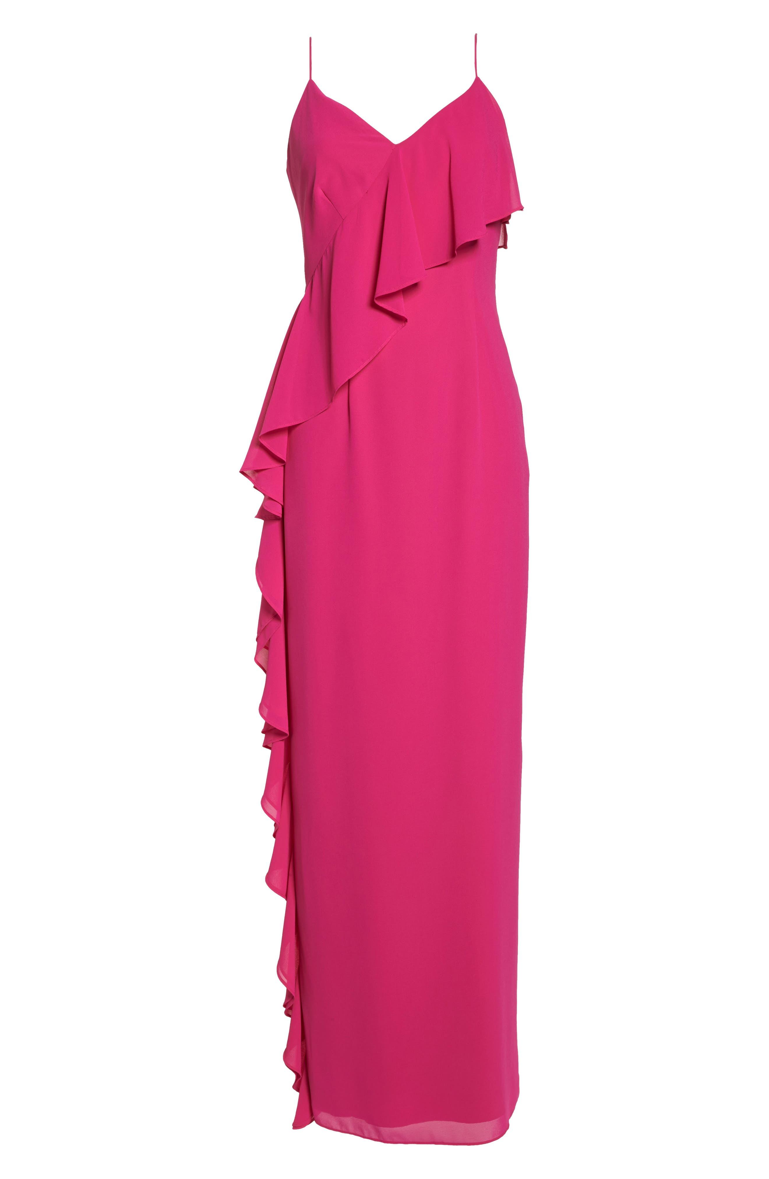 Asymmetrical Ruffle Column Gown,                             Alternate thumbnail 7, color,                             Fuchsia