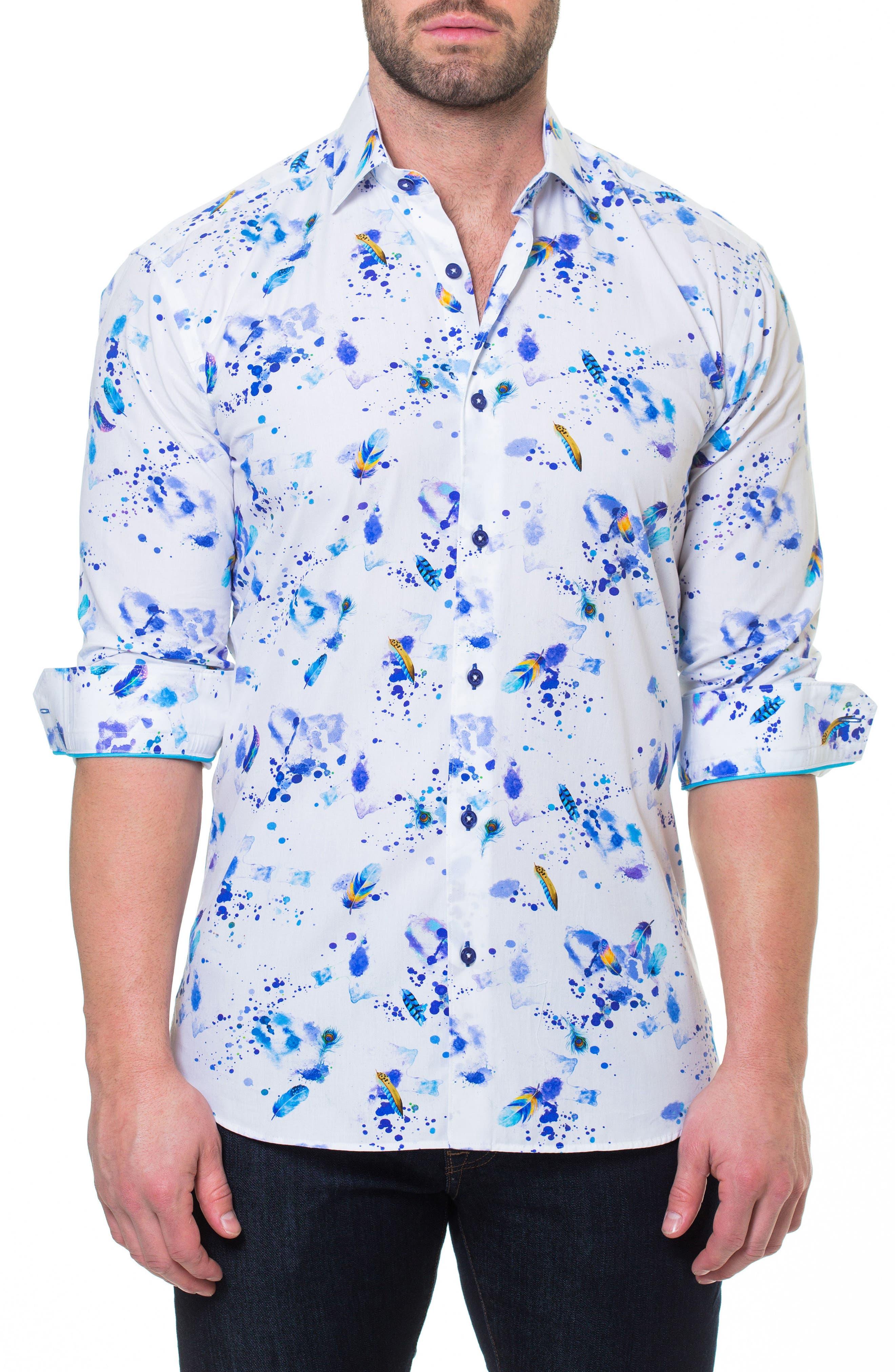 Luxor Peacock Splatter Slim Fit Sport Shirt,                             Main thumbnail 1, color,                             White