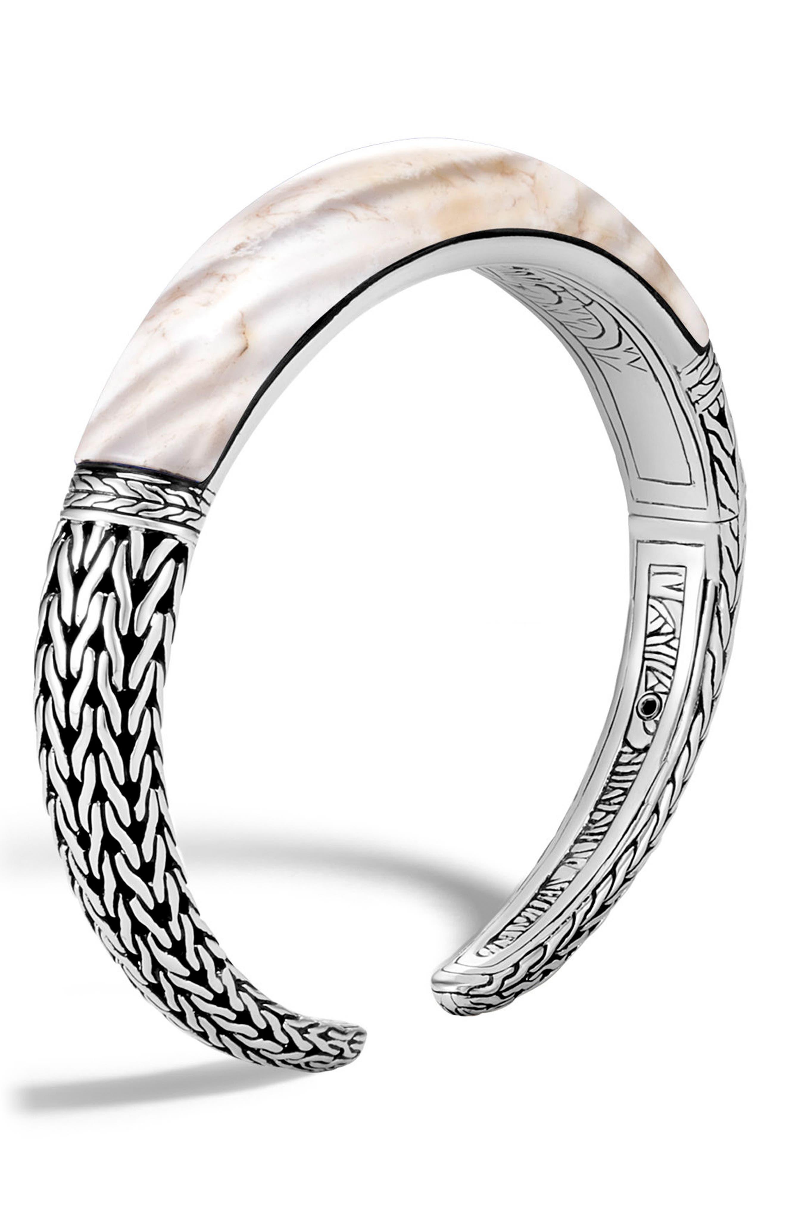 Classic Chain Small Graduated Kick Cuff Bracelet,                         Main,                         color, Silver/ White Agate