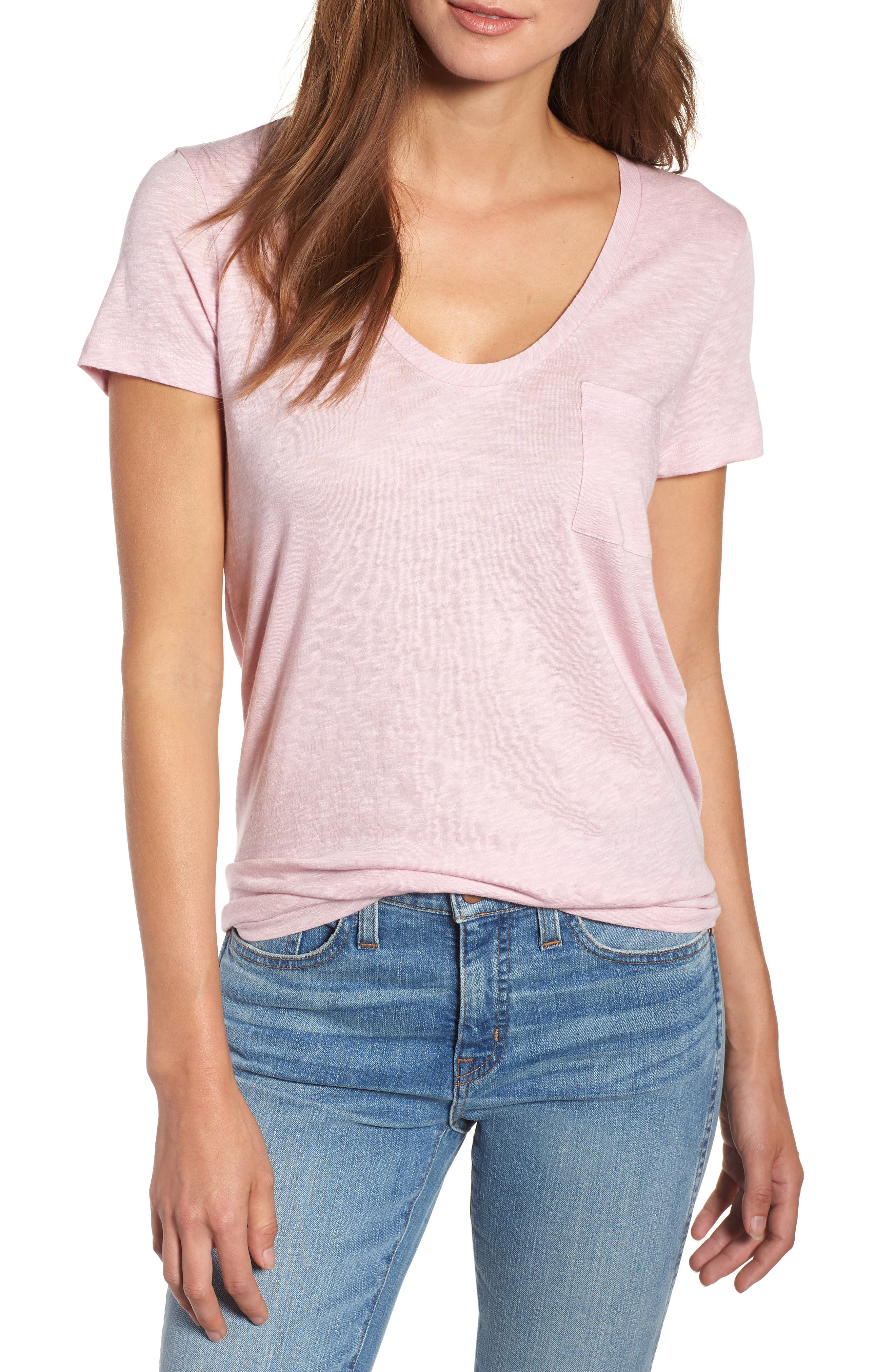 Rounded V-Neck Tee,                             Main thumbnail 1, color,                             Purple Fragrant