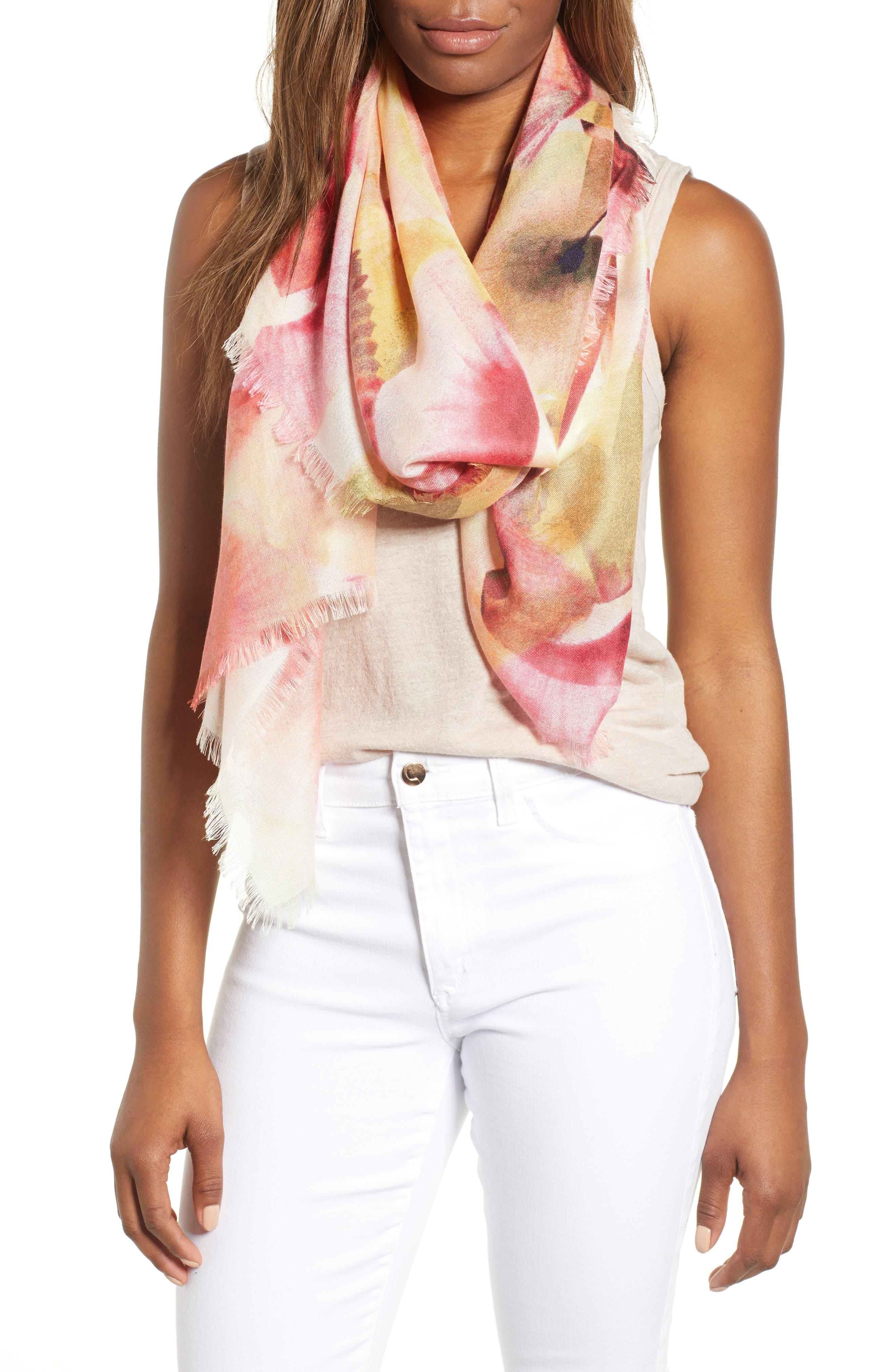 Eyelash Trim Print Cashmere & Silk Wrap,                         Main,                         color, Pink Fanning Dots