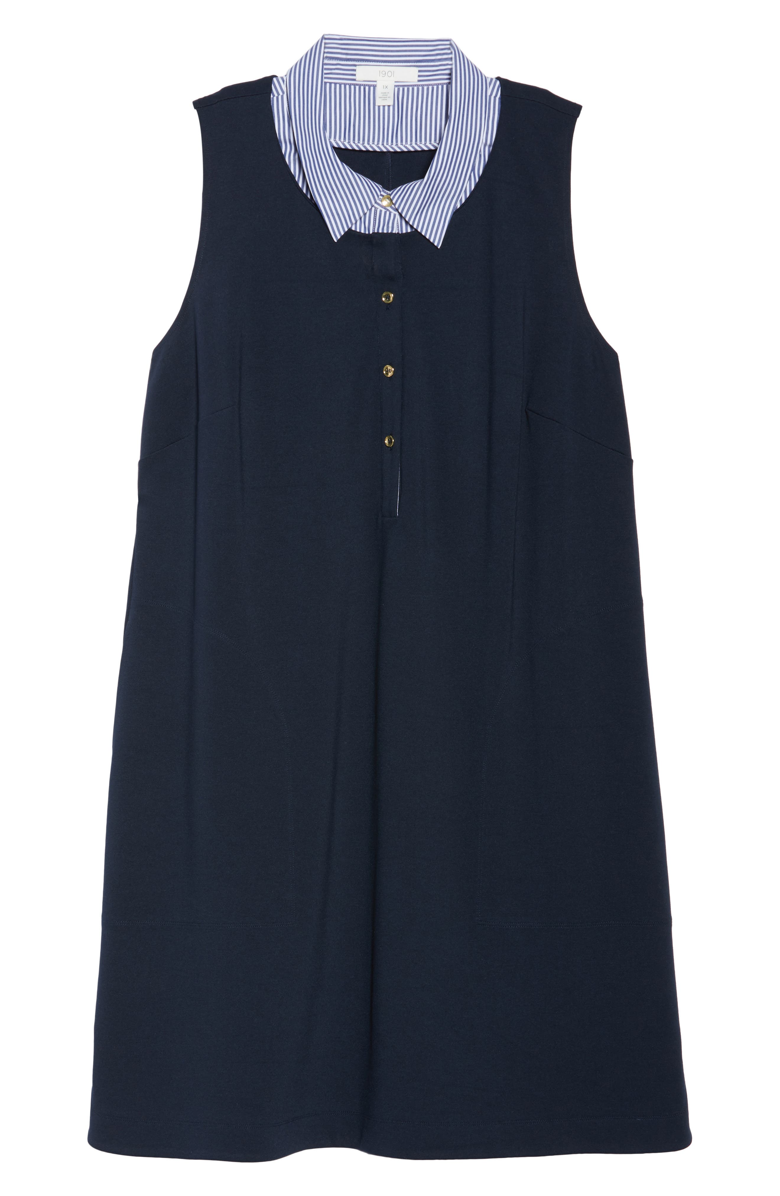 Poplin Collar Knit Dress,                             Alternate thumbnail 6, color,                             Navy