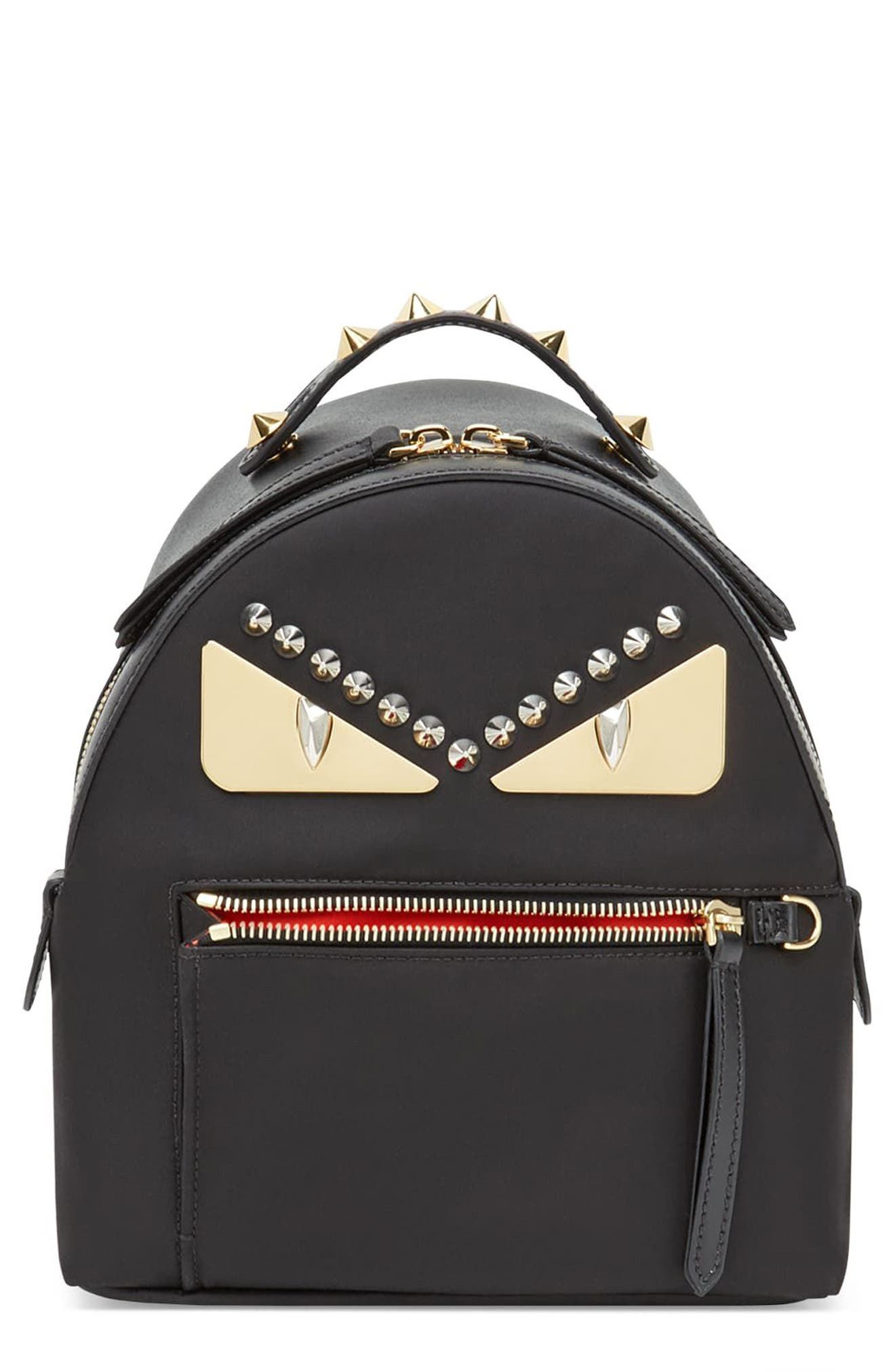 Mini Monster Nylon Backpack,                         Main,                         color, Nero/ Oro Soft