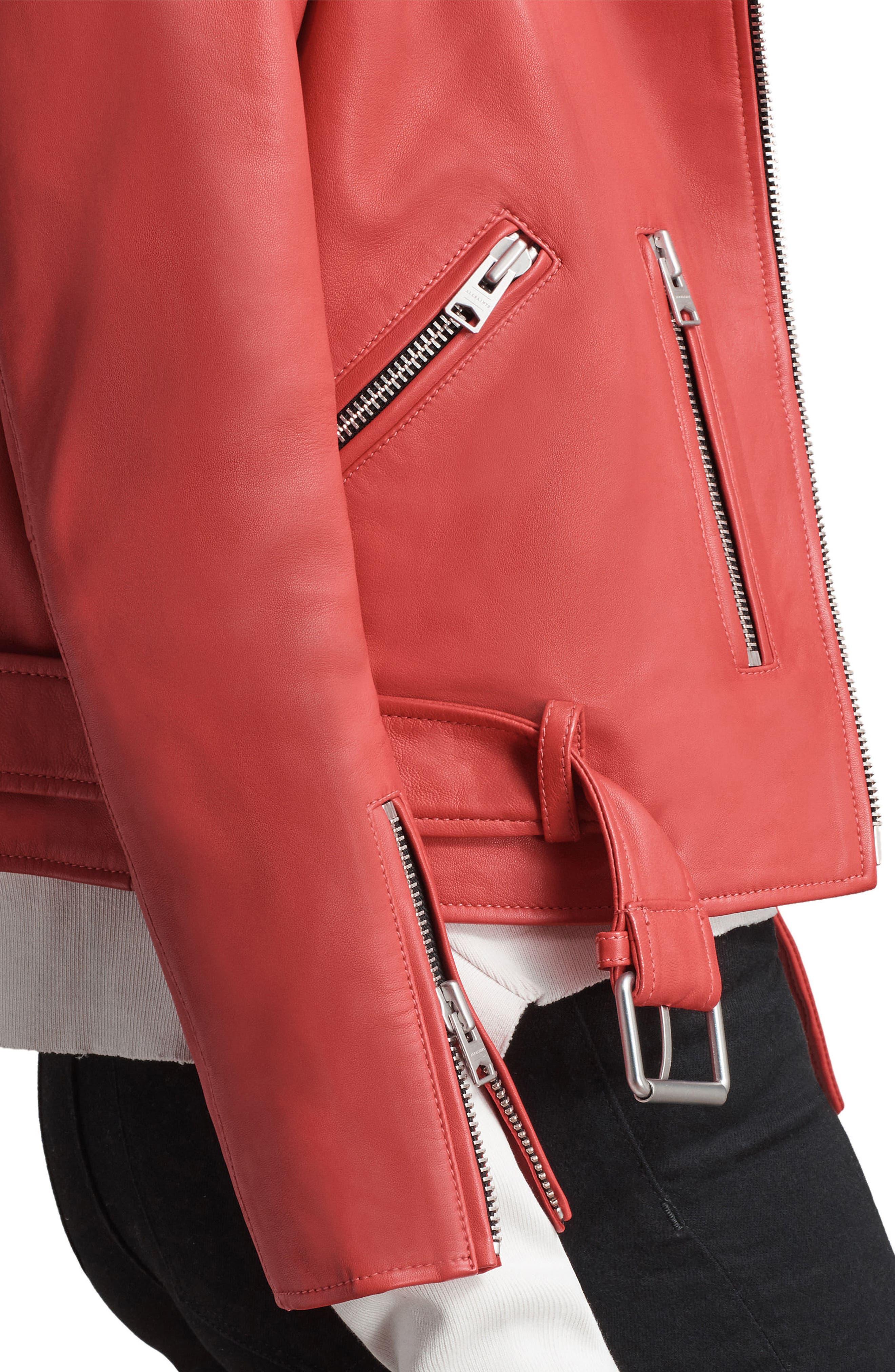 Balfern Leather Biker Jacket,                             Alternate thumbnail 5, color,                             Coral Red