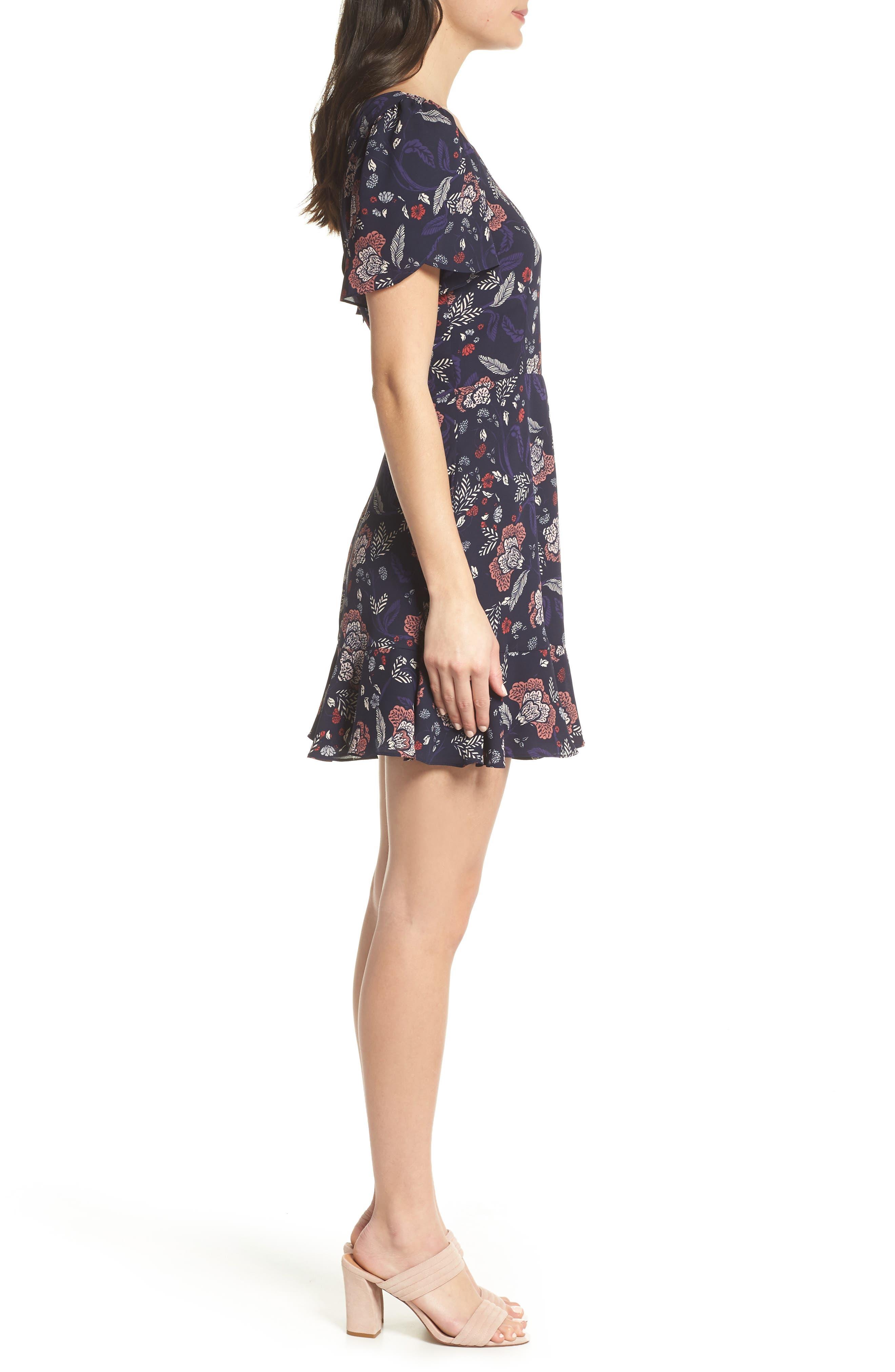 Cassidy Floral Minidress,                             Alternate thumbnail 3, color,                             Navy