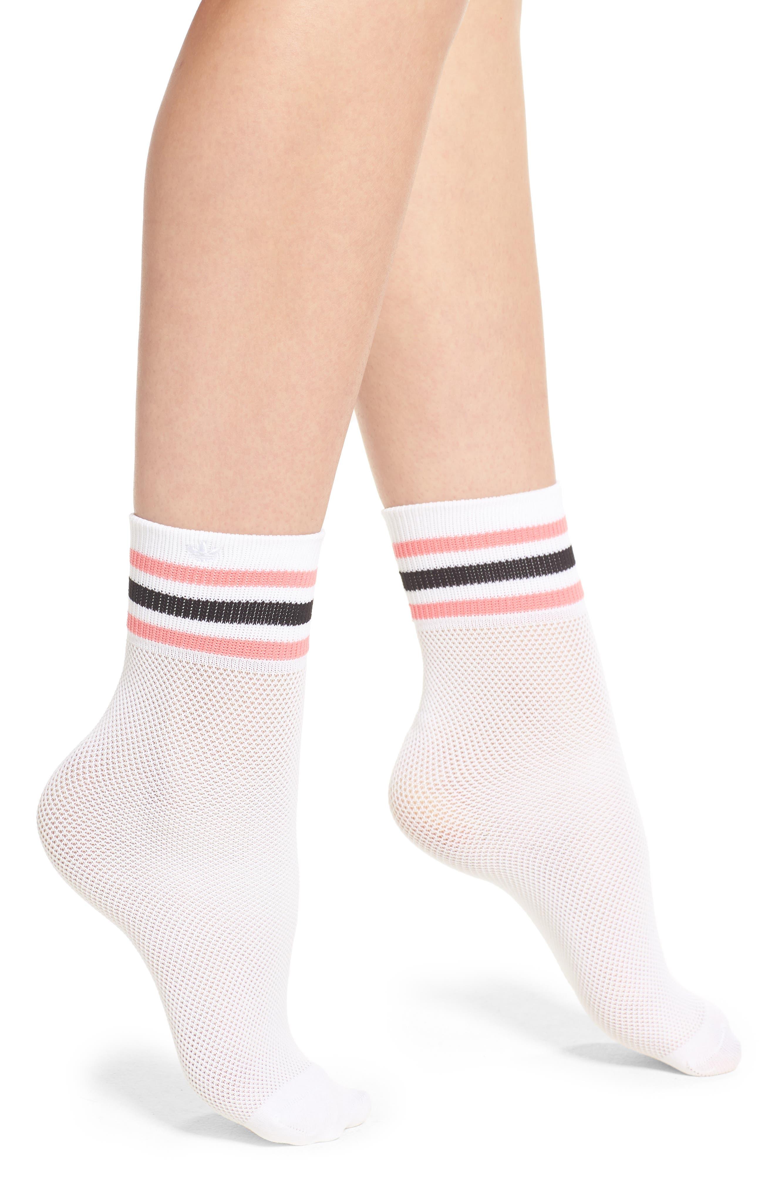 Stripe Mesh Ankle Socks,                             Main thumbnail 1, color,                             White/ Chalk Pink/ Black