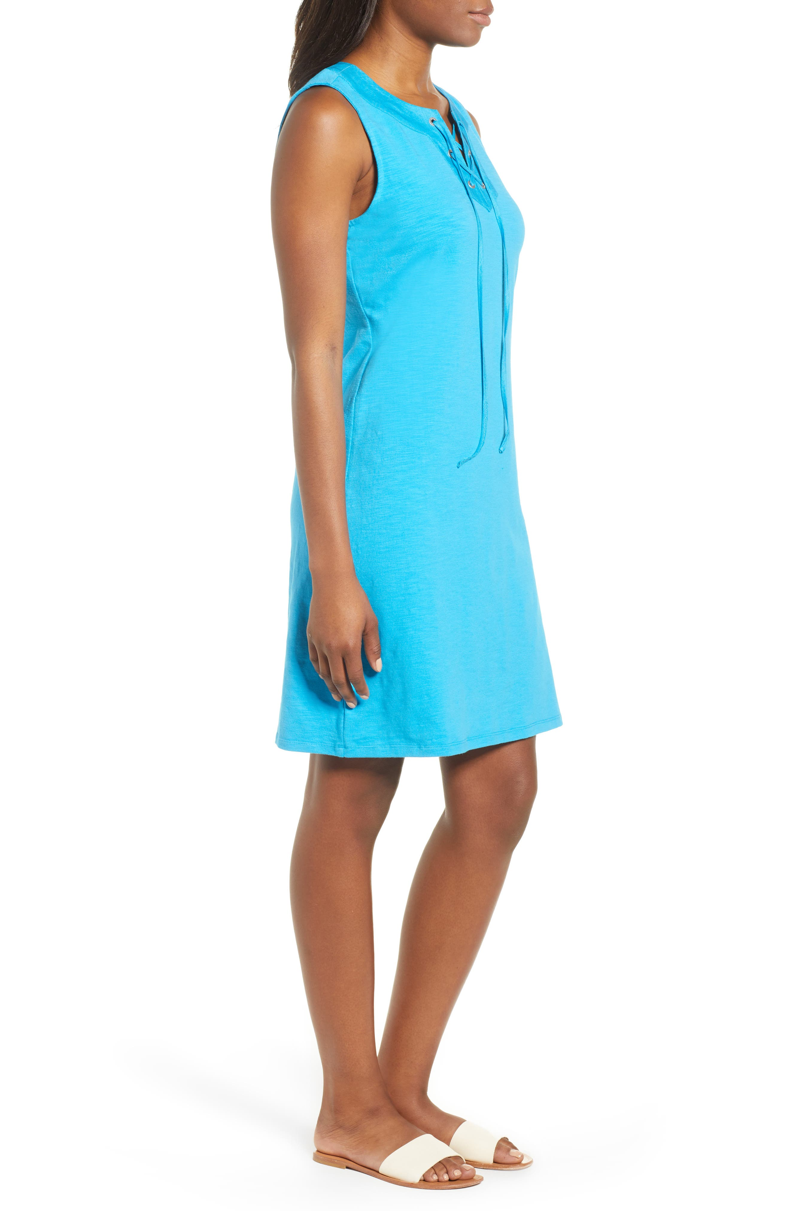 Lace-Up Shift Dress,                             Alternate thumbnail 3, color,                             Pool Party