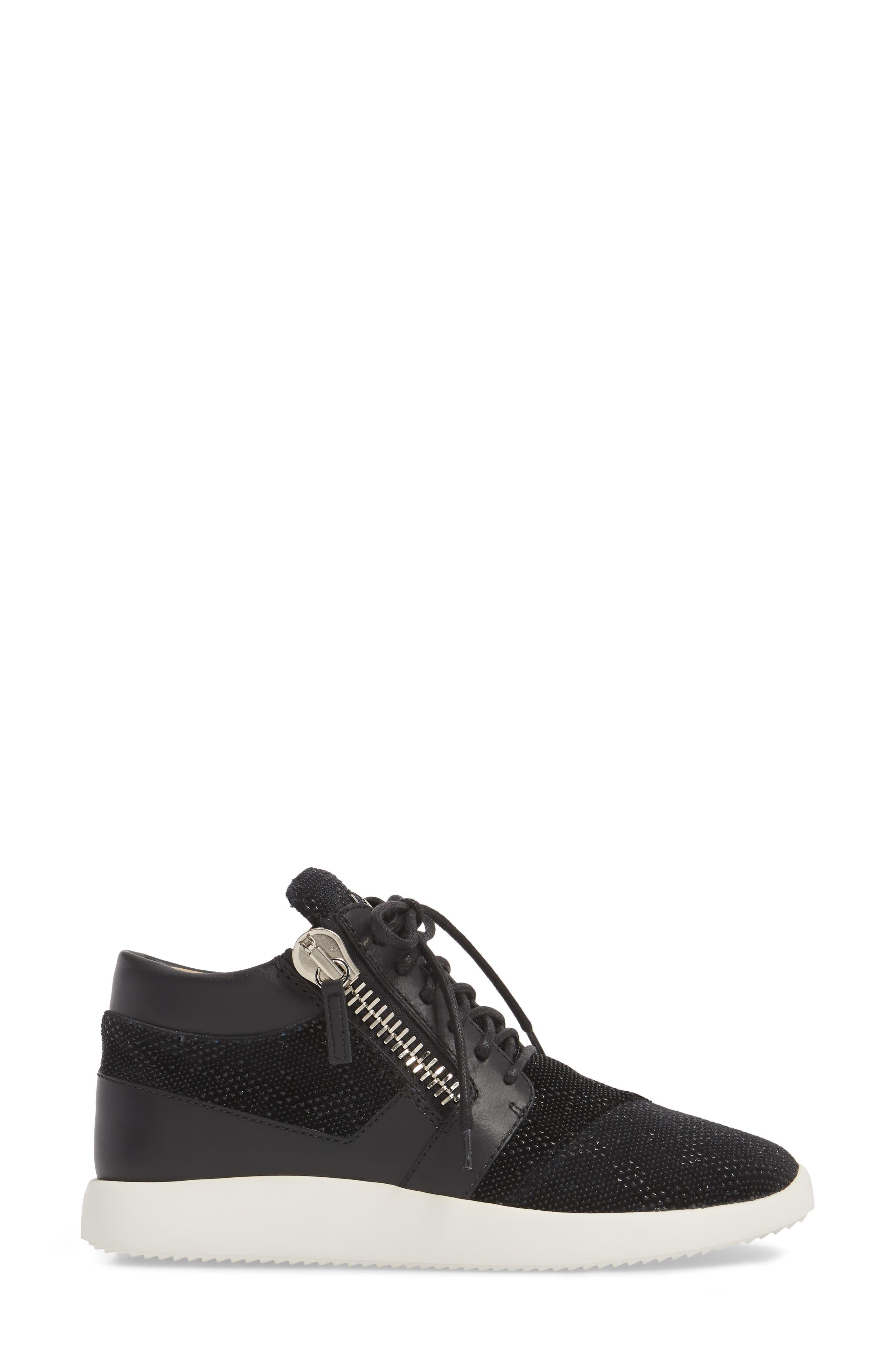 Mid Top Sneaker,                             Alternate thumbnail 3, color,                             Black