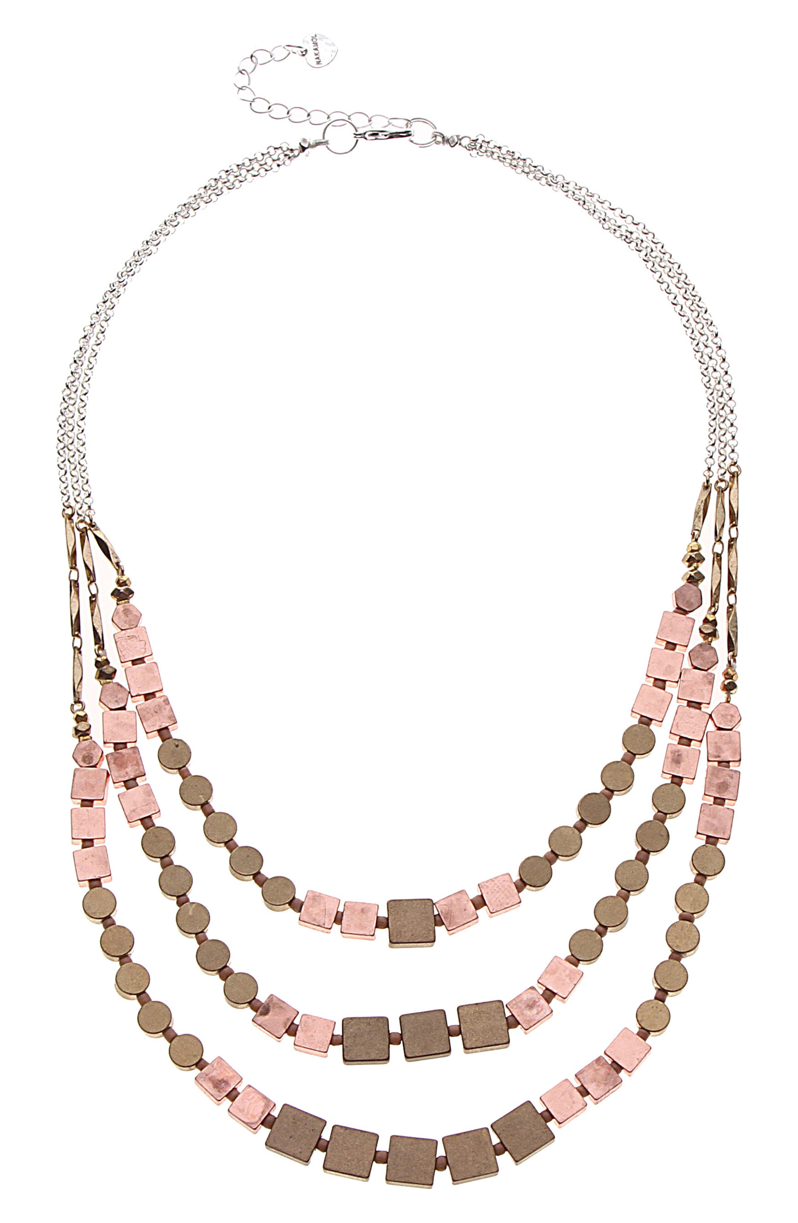 Three Layer Metal Necklace,                         Main,                         color, Copper