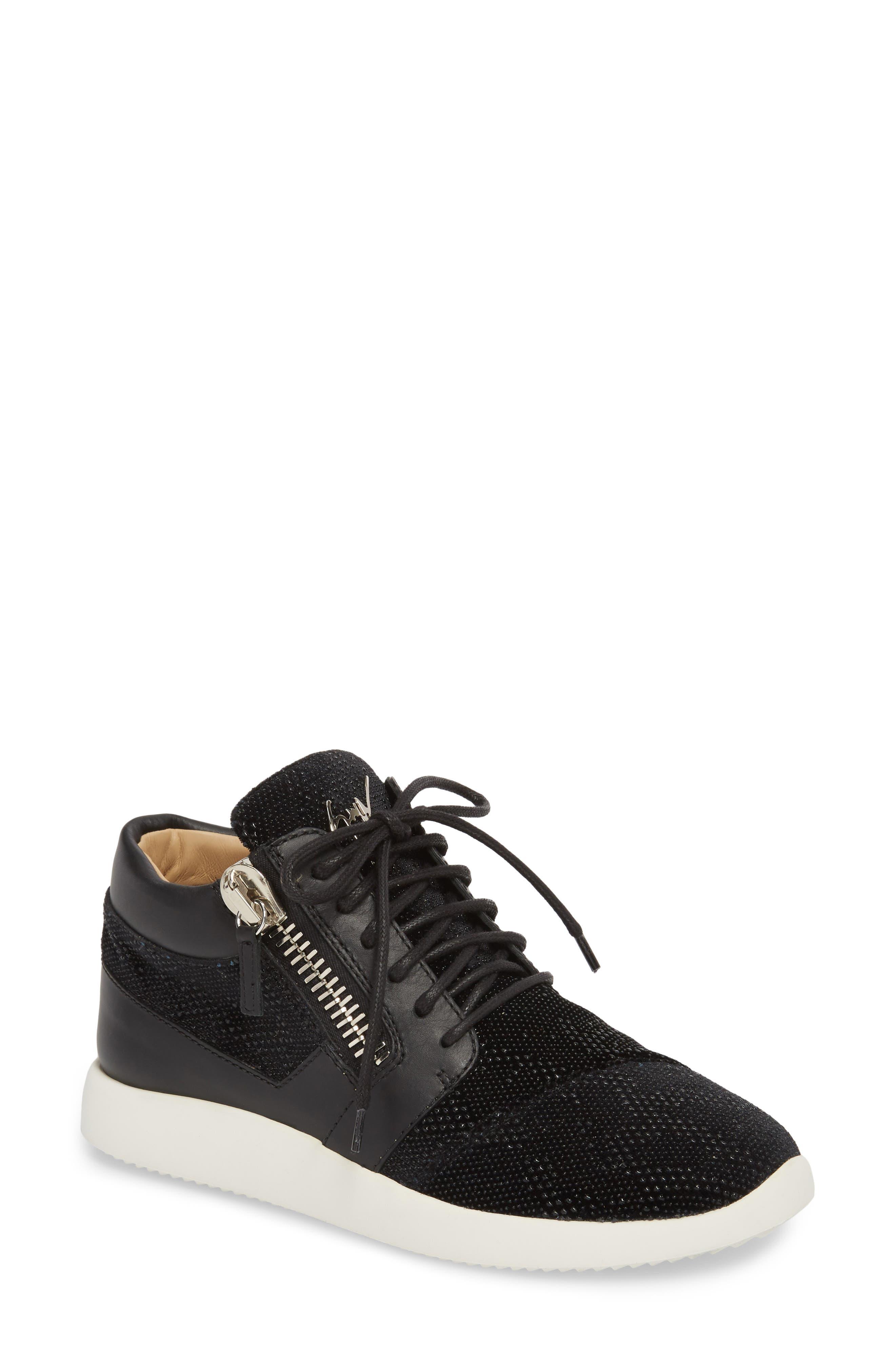 Mid Top Sneaker,                             Main thumbnail 1, color,                             Black