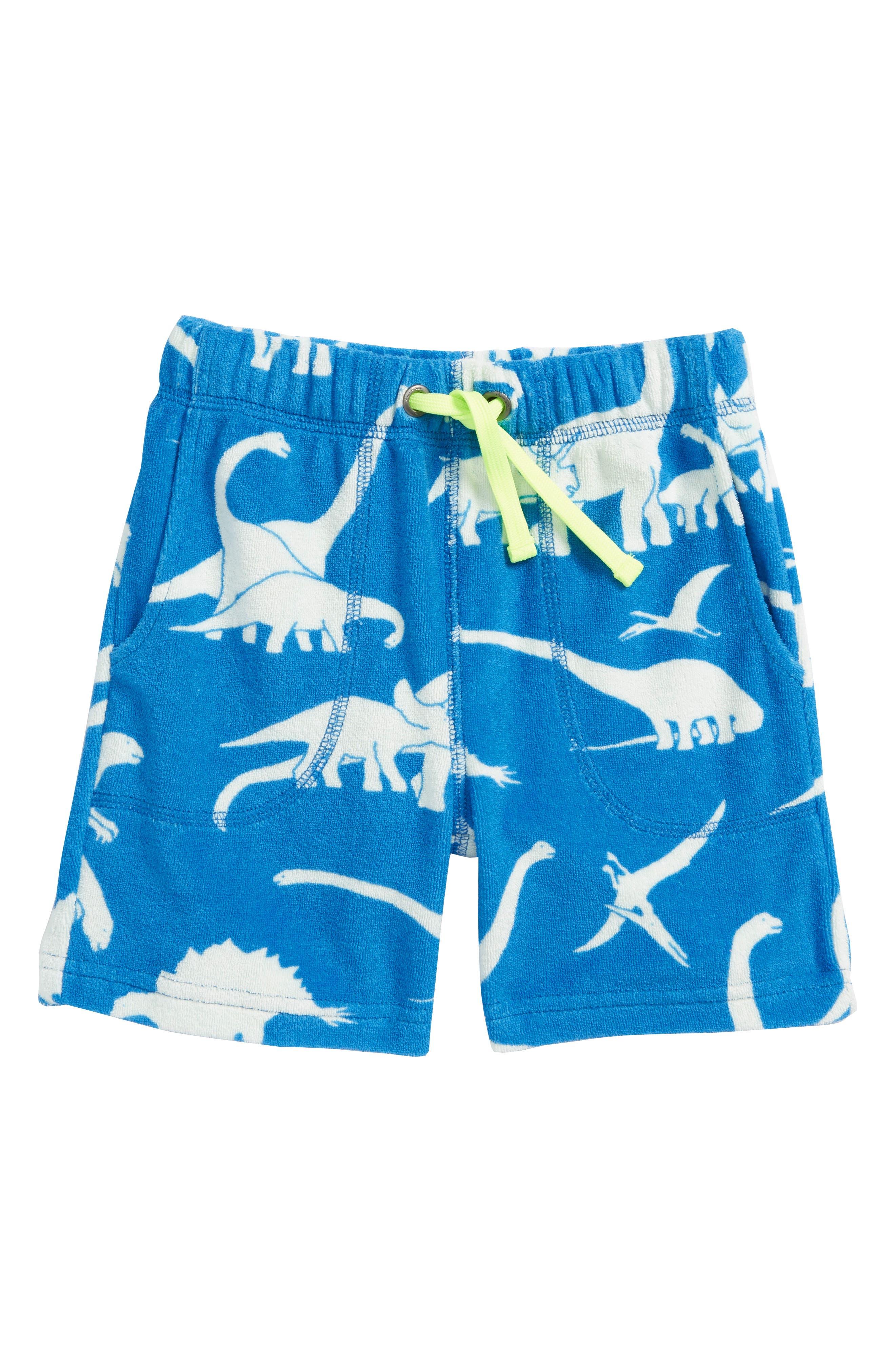 Dino Toweling Shorts,                             Main thumbnail 1, color,                             Yogo Blue Dinosaurs