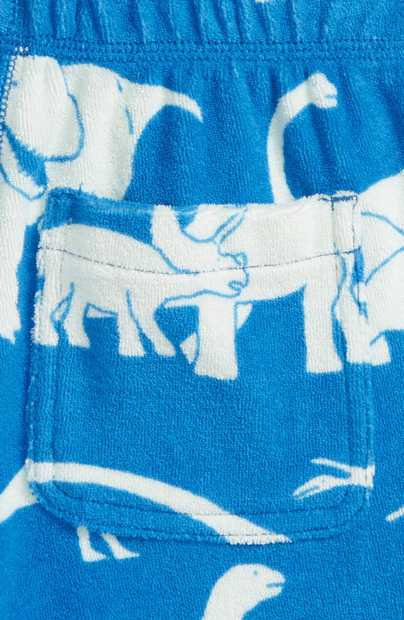 Dino Toweling Shorts,                             Alternate thumbnail 3, color,                             Yogo Blue Dinosaurs
