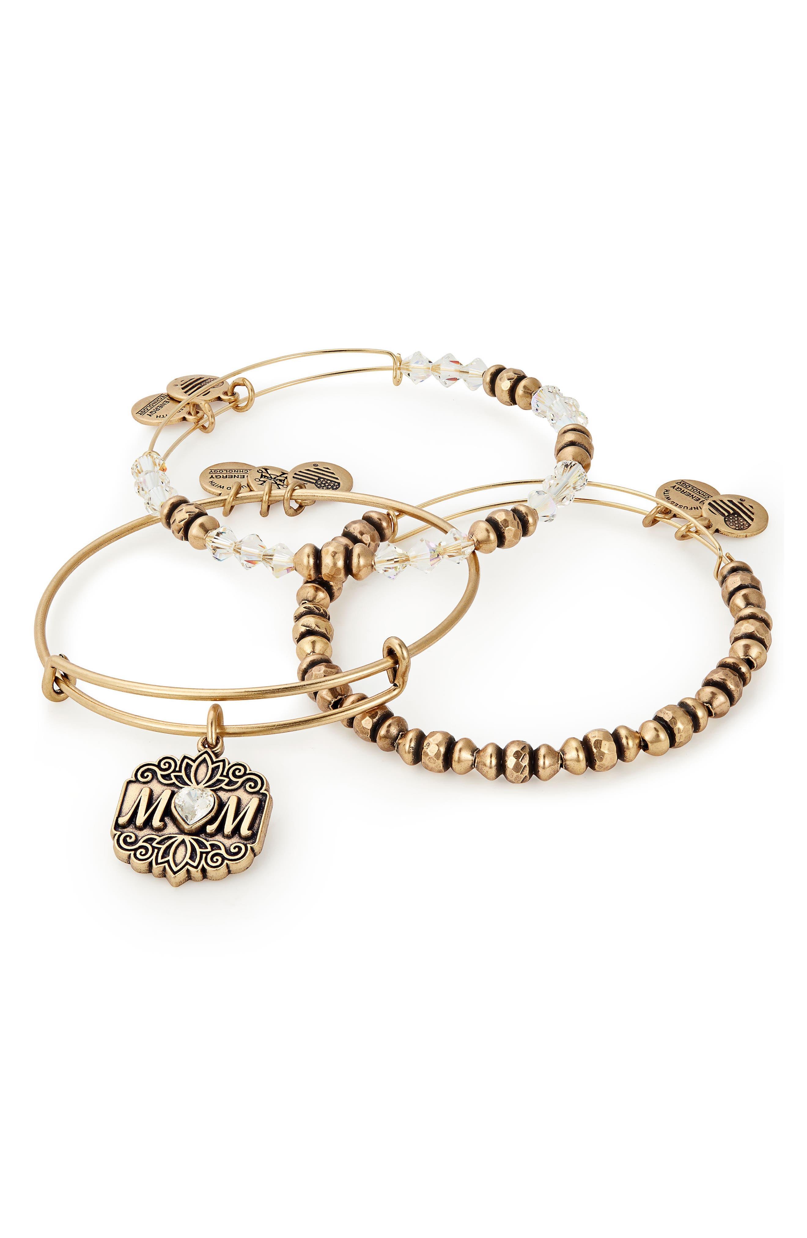 Set of 3 Mom Bracelets,                             Alternate thumbnail 2, color,                             Gold
