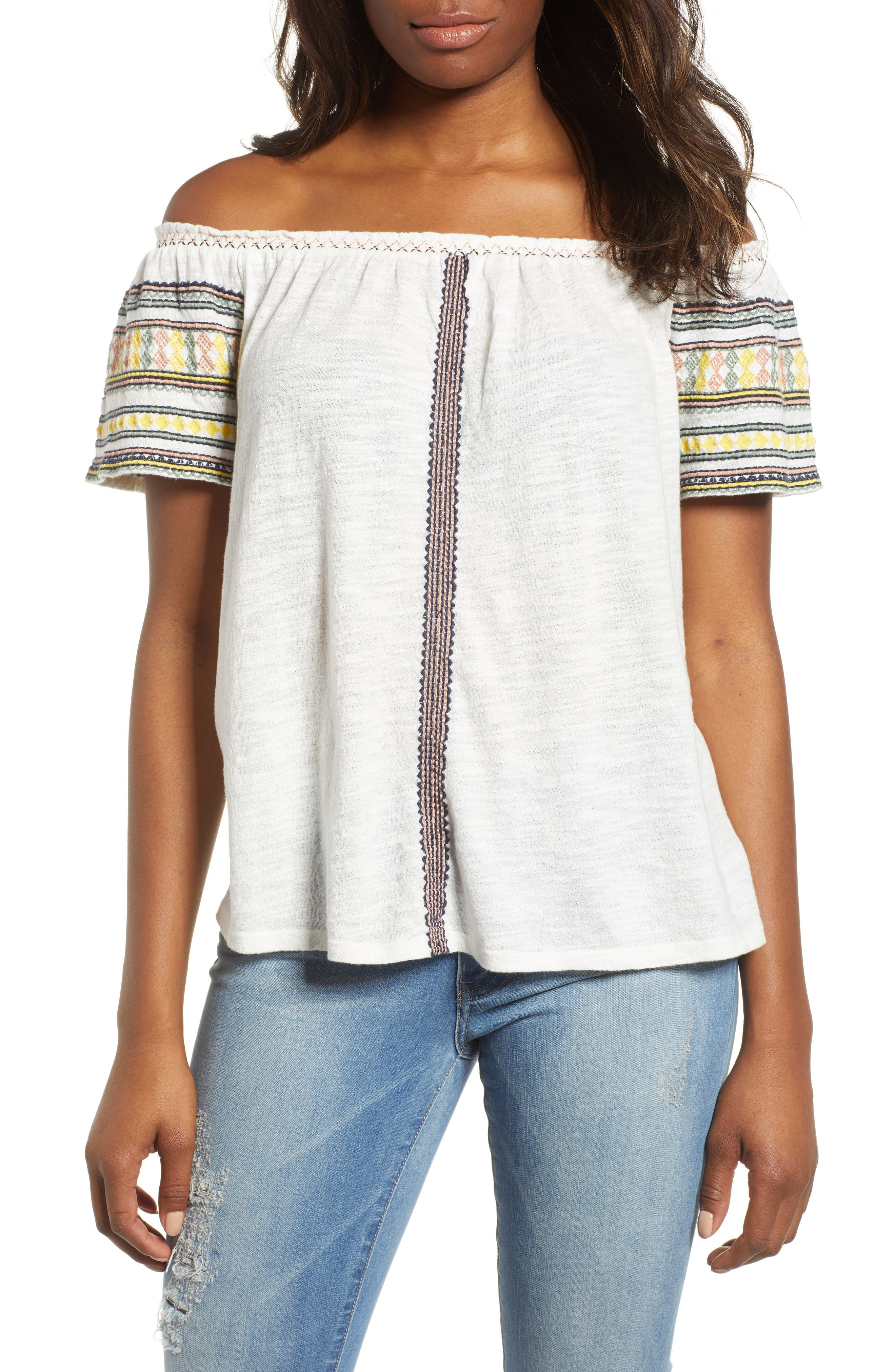 Lucky Embroidered Off The Shoulder Cotton Top,                             Main thumbnail 1, color,                             Marshmallow