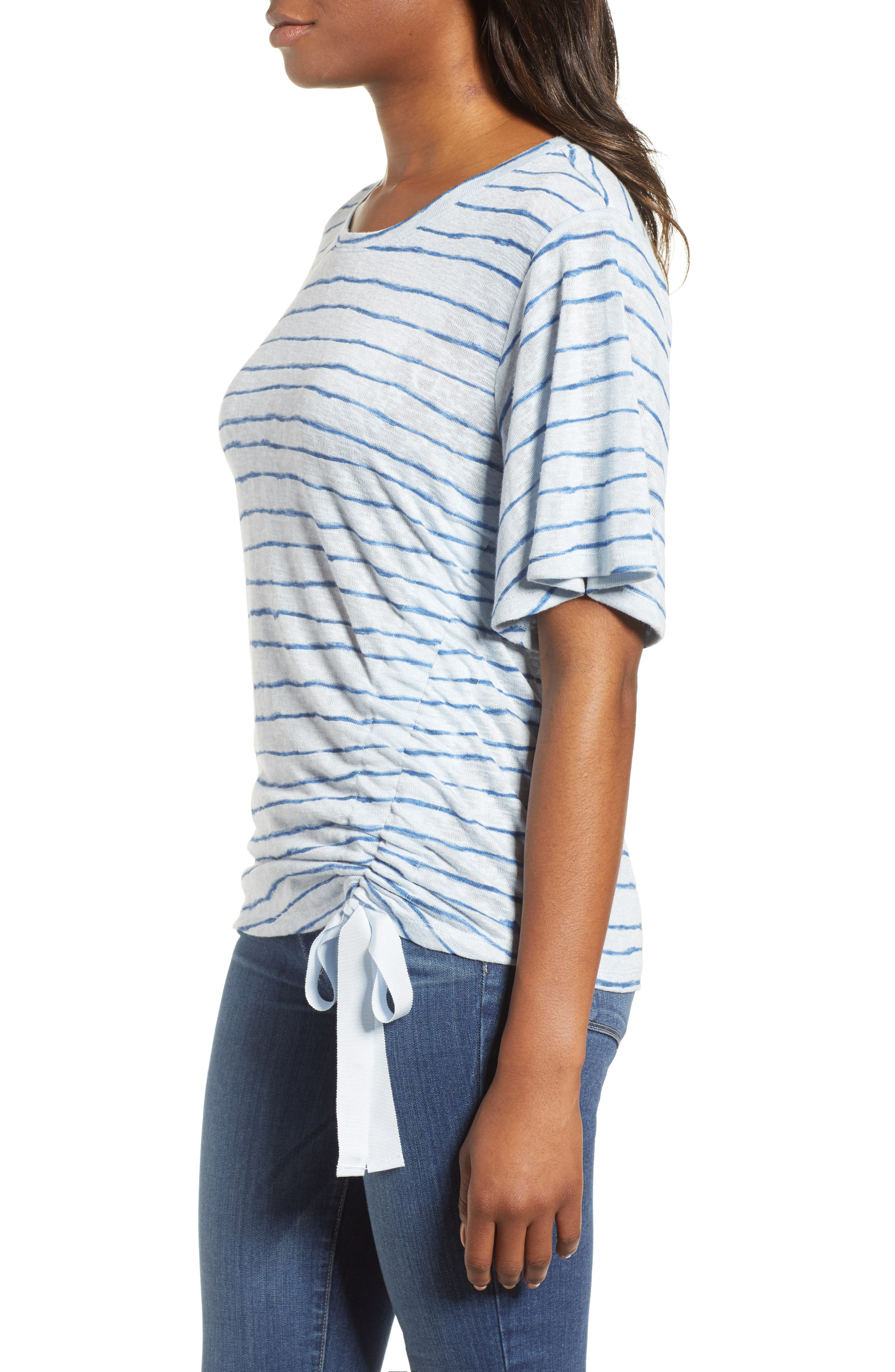 Ruched Side Ribbon Tee,                             Alternate thumbnail 3, color,                             Starlight