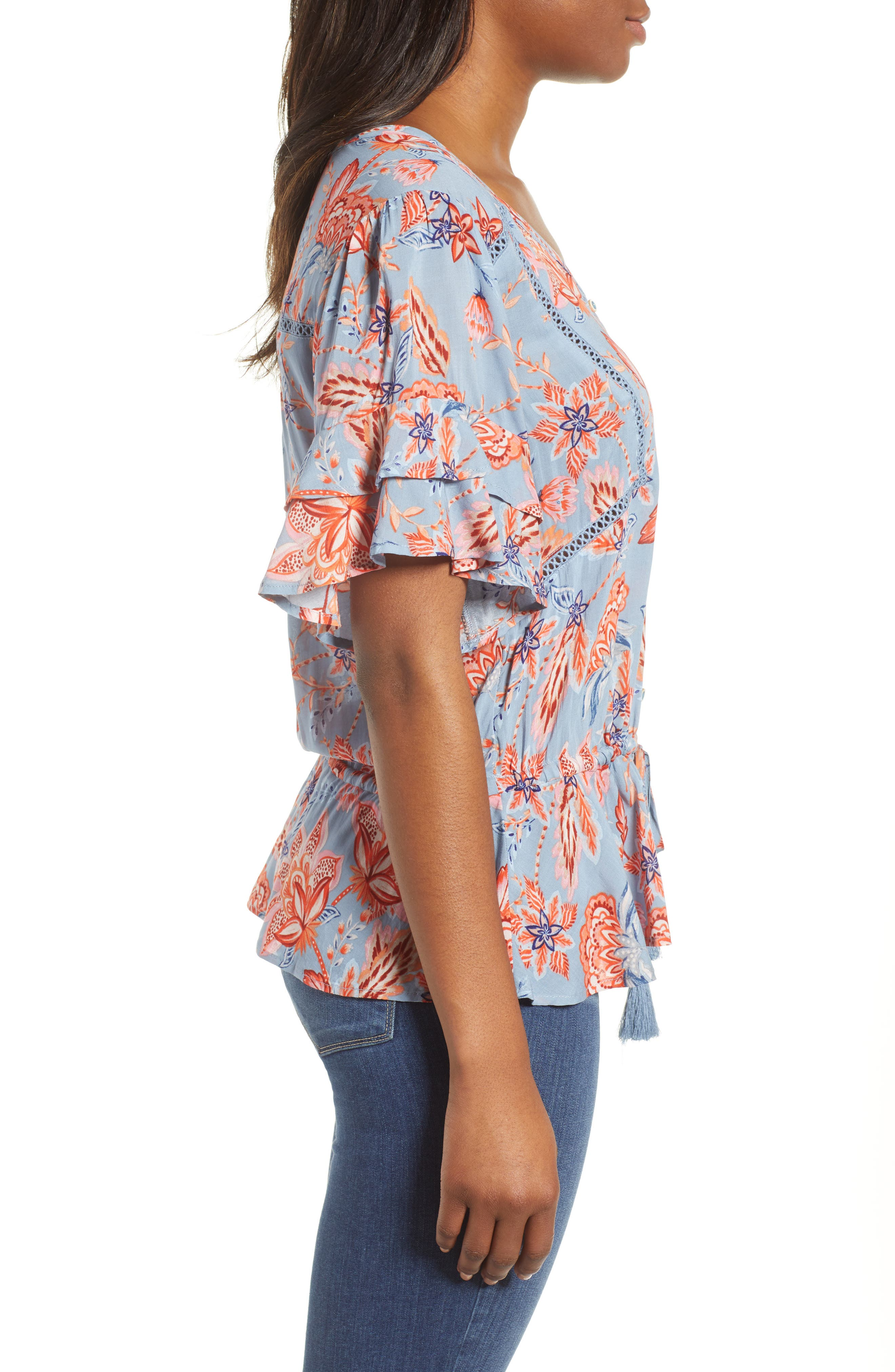 Alternate Image 3  - Wit & Wisdom Double Flounce Floral Top (Nordstrom Exclusive)