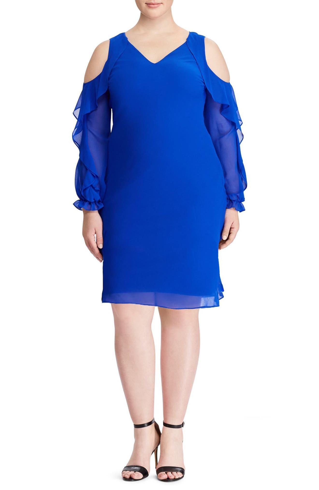Paiva Cold Shoulder Minidress,                             Main thumbnail 1, color,                             Deep Lapis