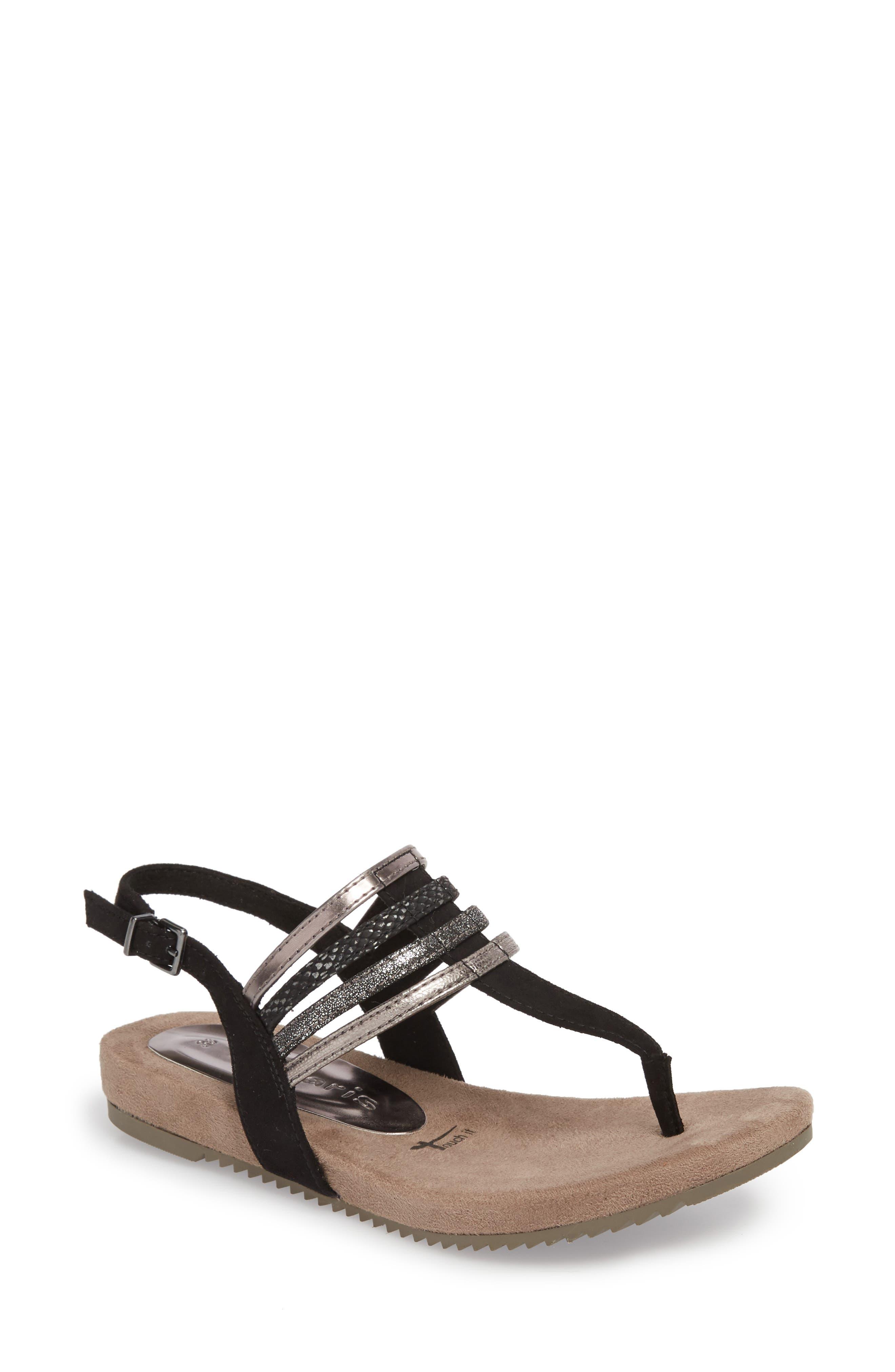 Locust Sandal,                             Main thumbnail 1, color,                             Black Fabric