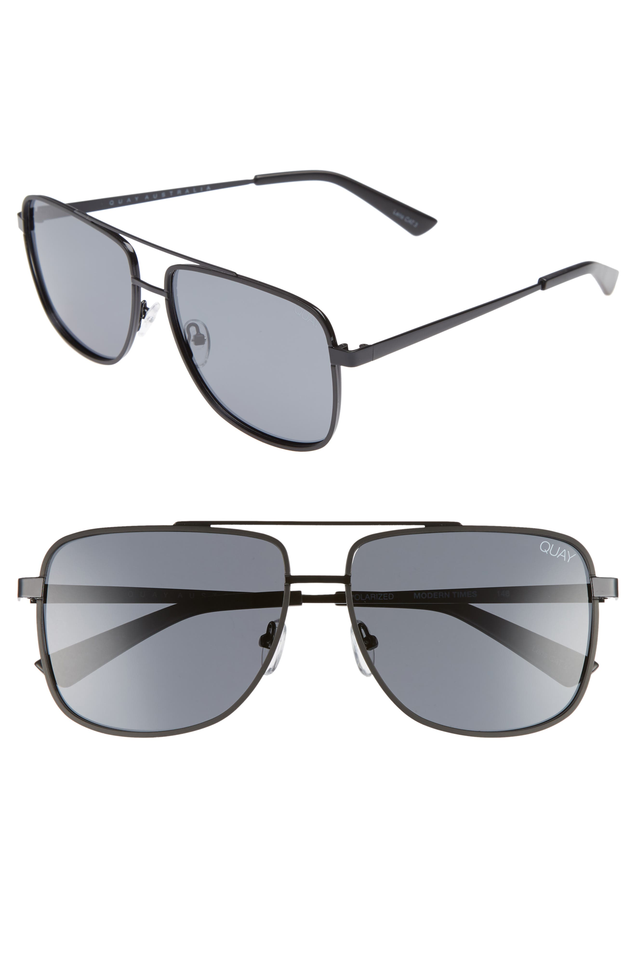 Modern Times 57mm Polarized Aviator Sunglasses,                             Main thumbnail 1, color,                             Black / Smoke Lens