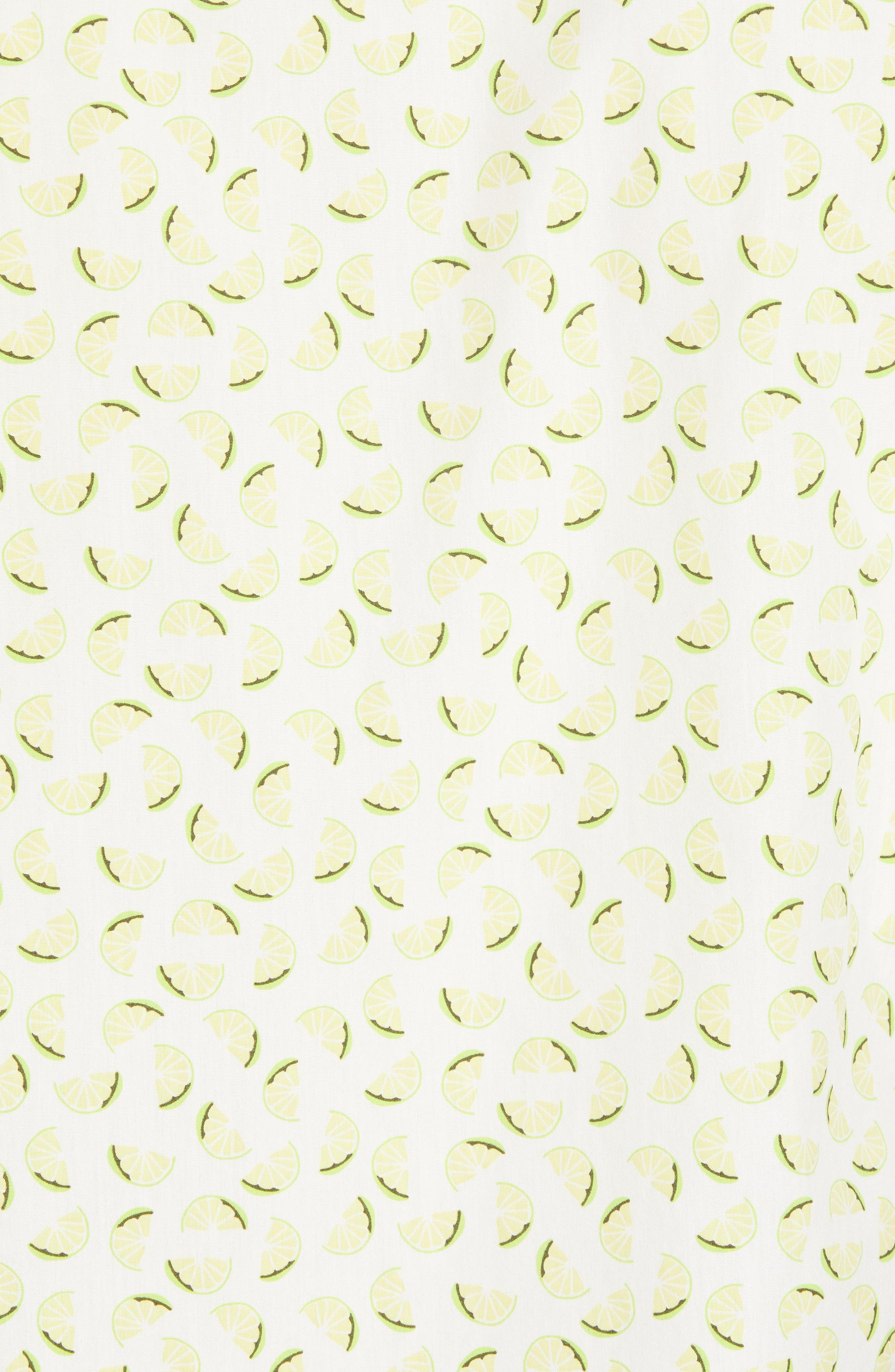 Slim Fit Citrus Print Sport Shirt,                             Alternate thumbnail 5, color,                             Lemon Toss - Acid Lime