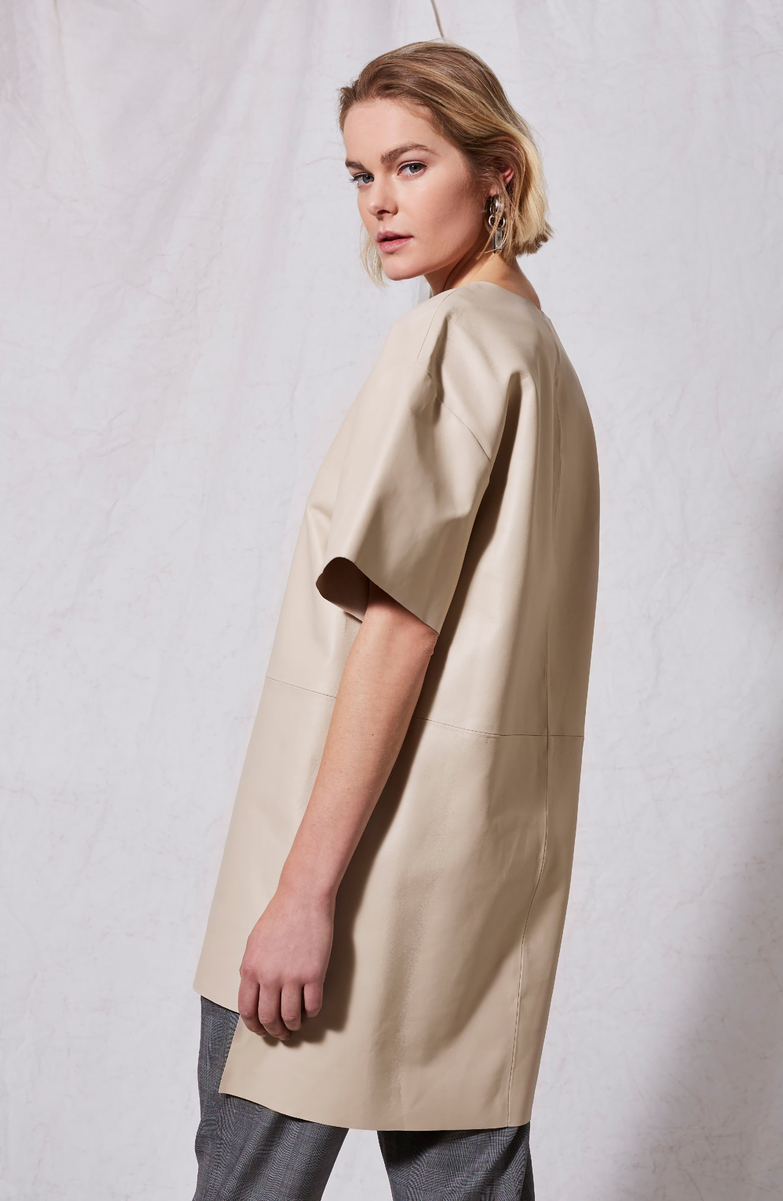 Leather V-Neck Dress,                             Alternate thumbnail 3, color,                             Cream