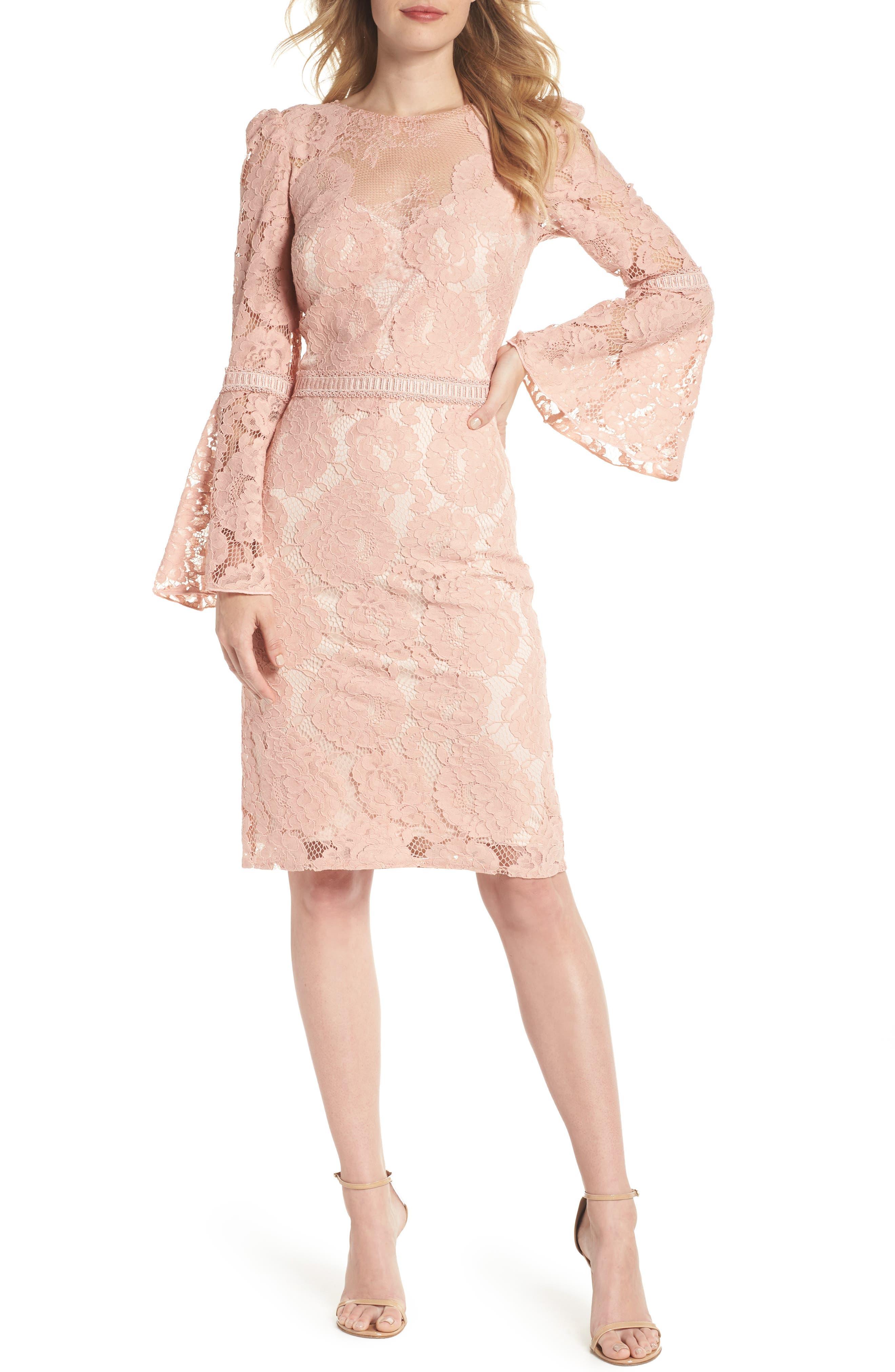 Lace Bell Sleeve Dress,                             Main thumbnail 1, color,                             Petal Bloom