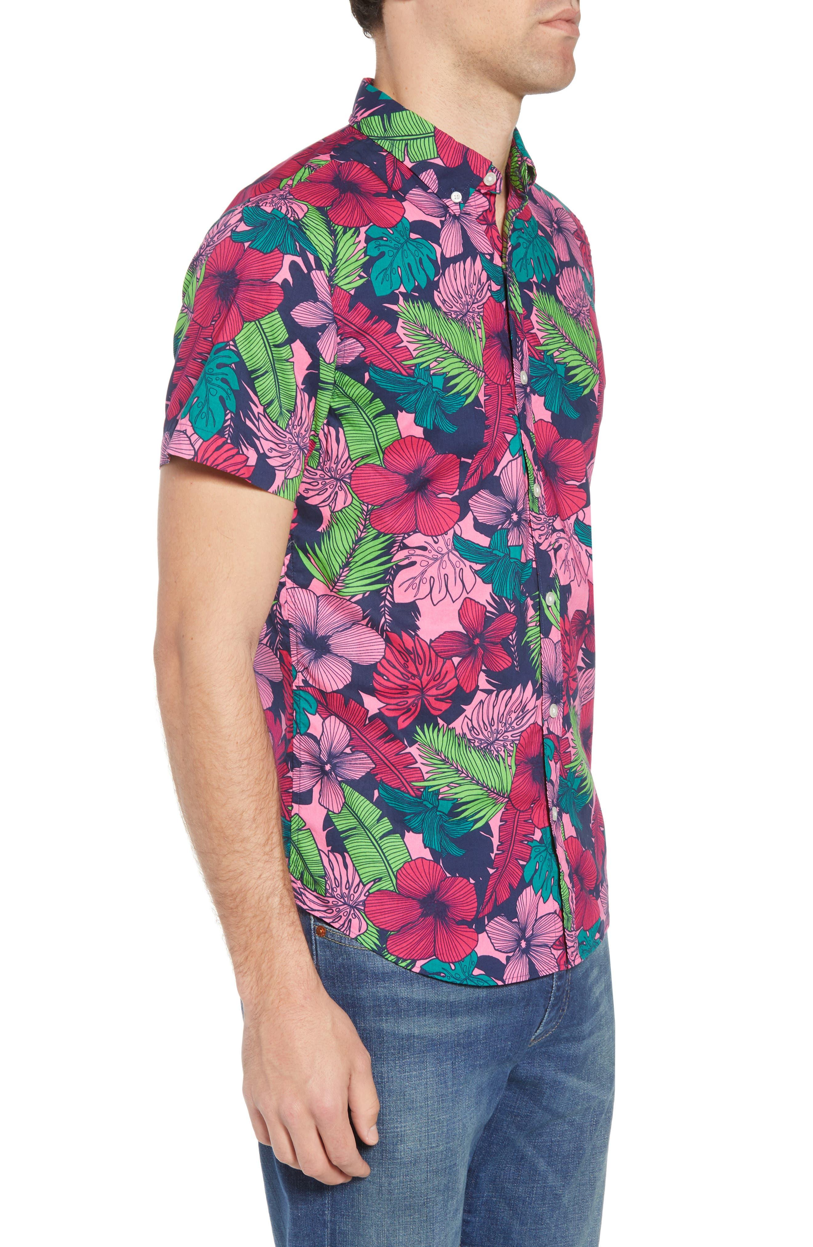Slim Fit Floral Print Sport Shirt,                             Alternate thumbnail 4, color,                             Garden Cove - Pink Rocket