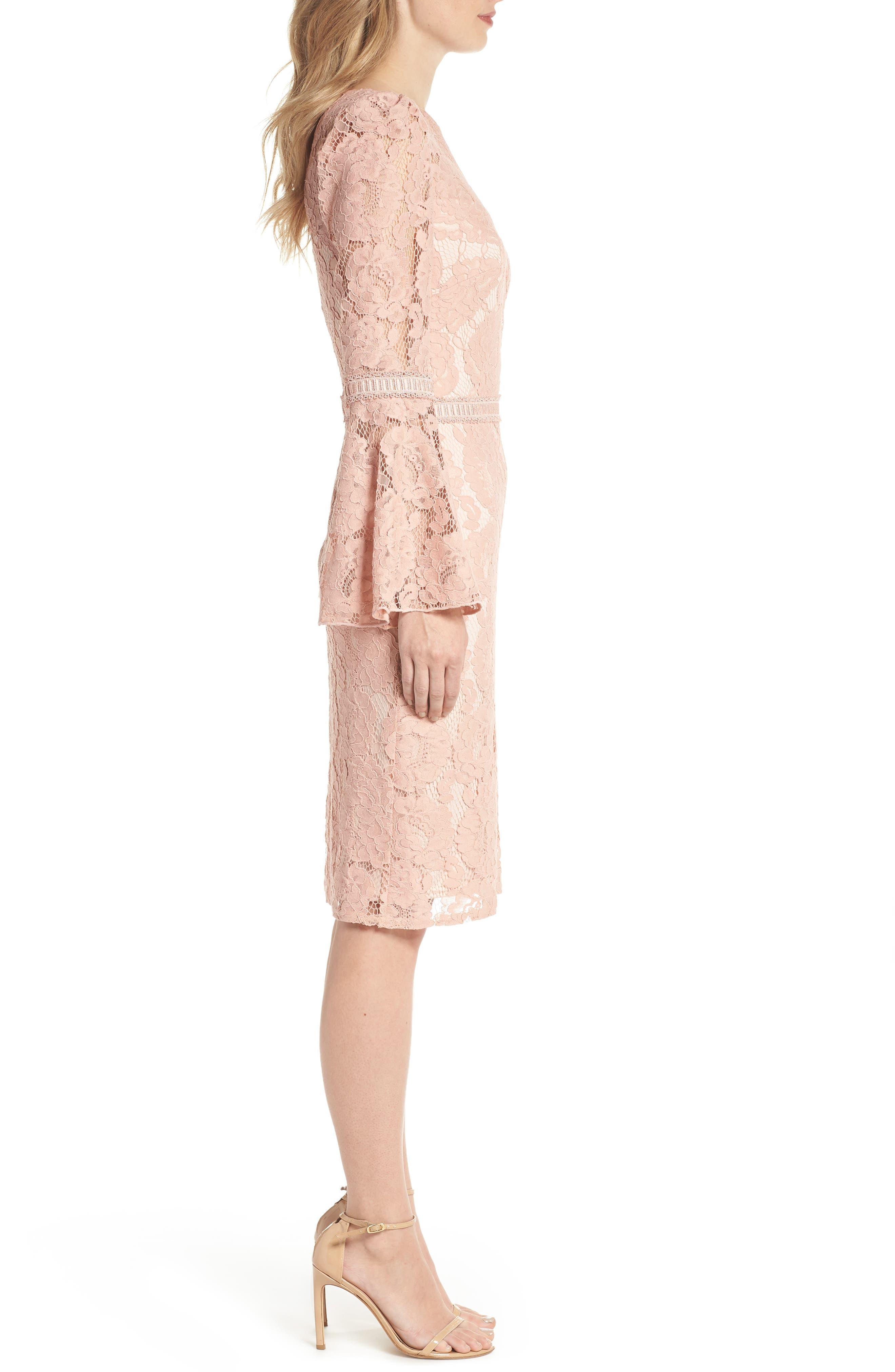 Lace Bell Sleeve Dress,                             Alternate thumbnail 3, color,                             Petal Bloom