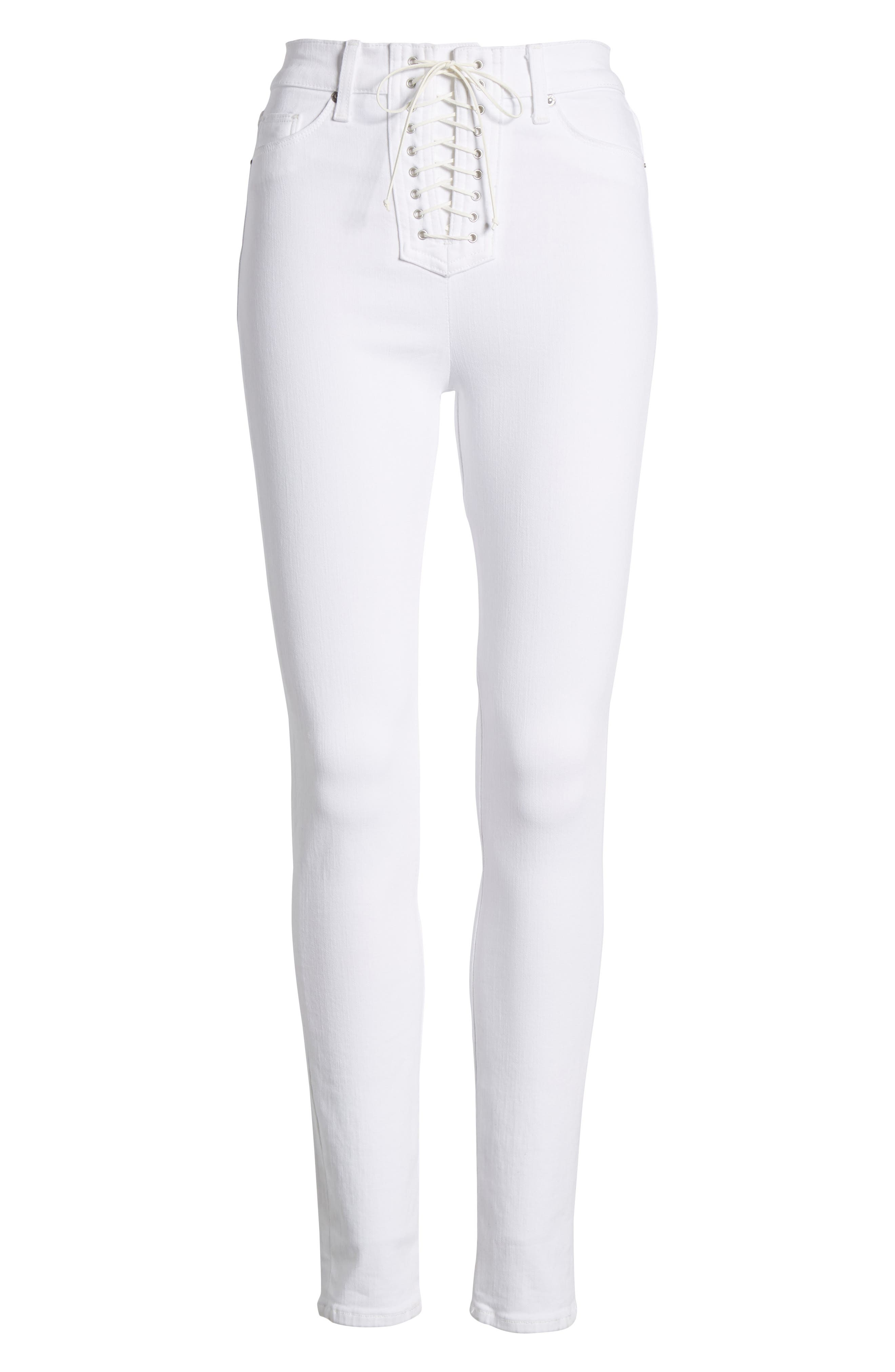 Bullocks Lace-Up High Waist Super Skinny Jeans,                             Alternate thumbnail 6, color,                             Optical White