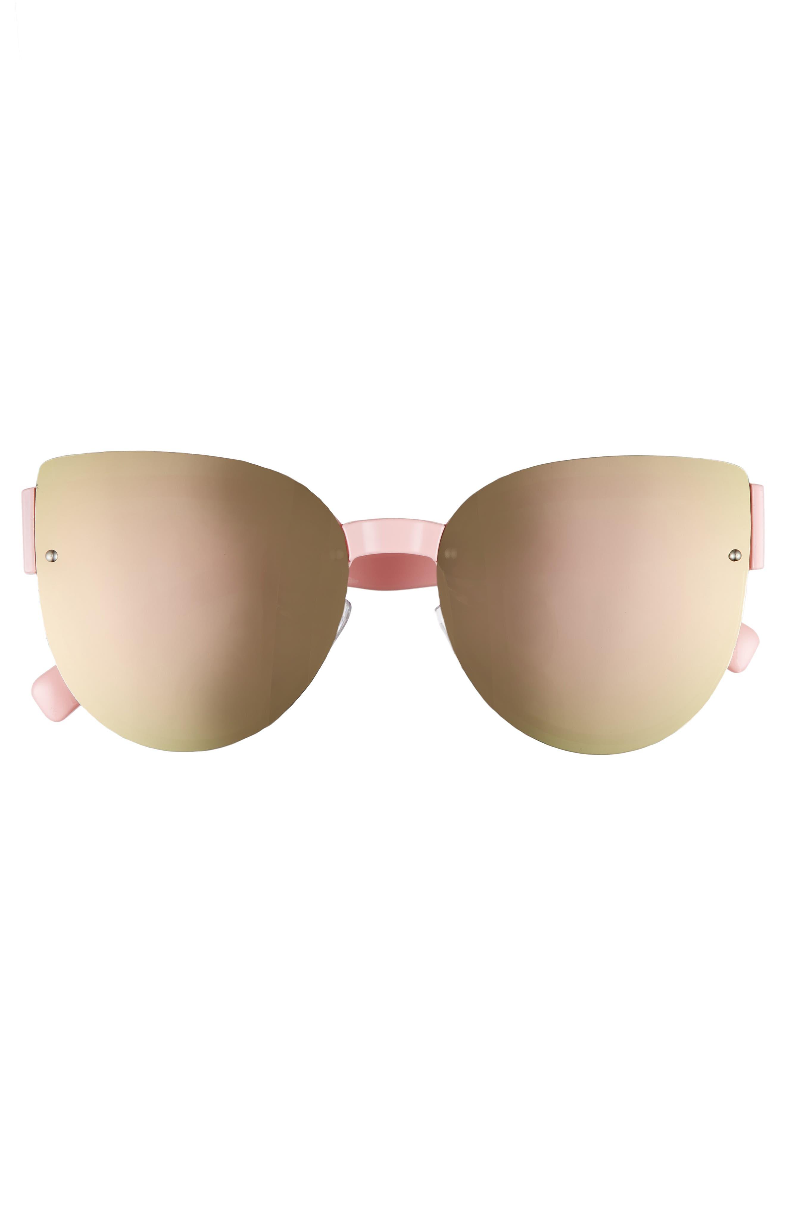 62mm Oversize Rimless Cat Eye Sunglasses,                             Alternate thumbnail 3, color,                             Pink
