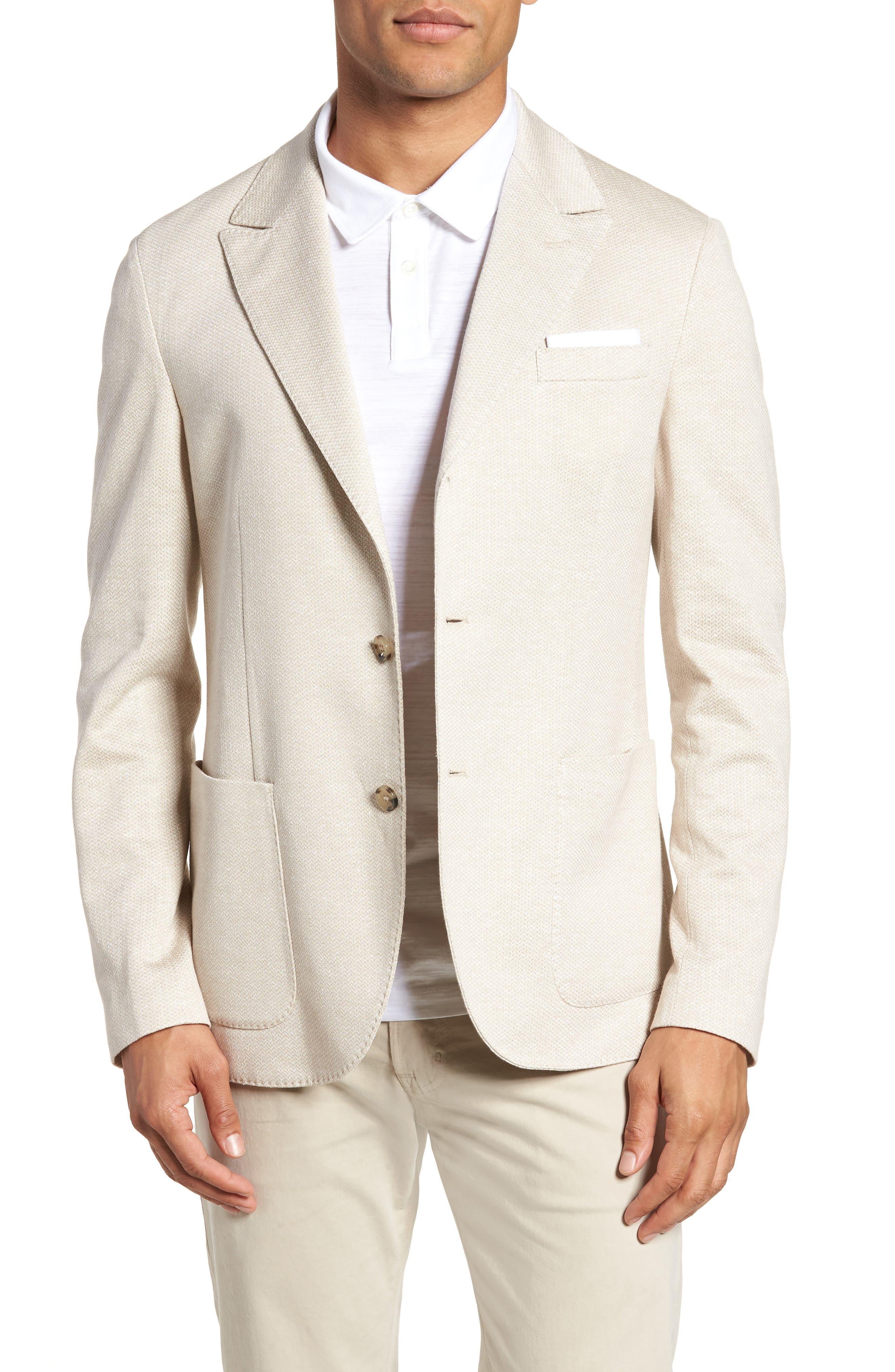Jersey Trim Fit Linen & Cotton Blazer,                             Main thumbnail 1, color,                             Sand
