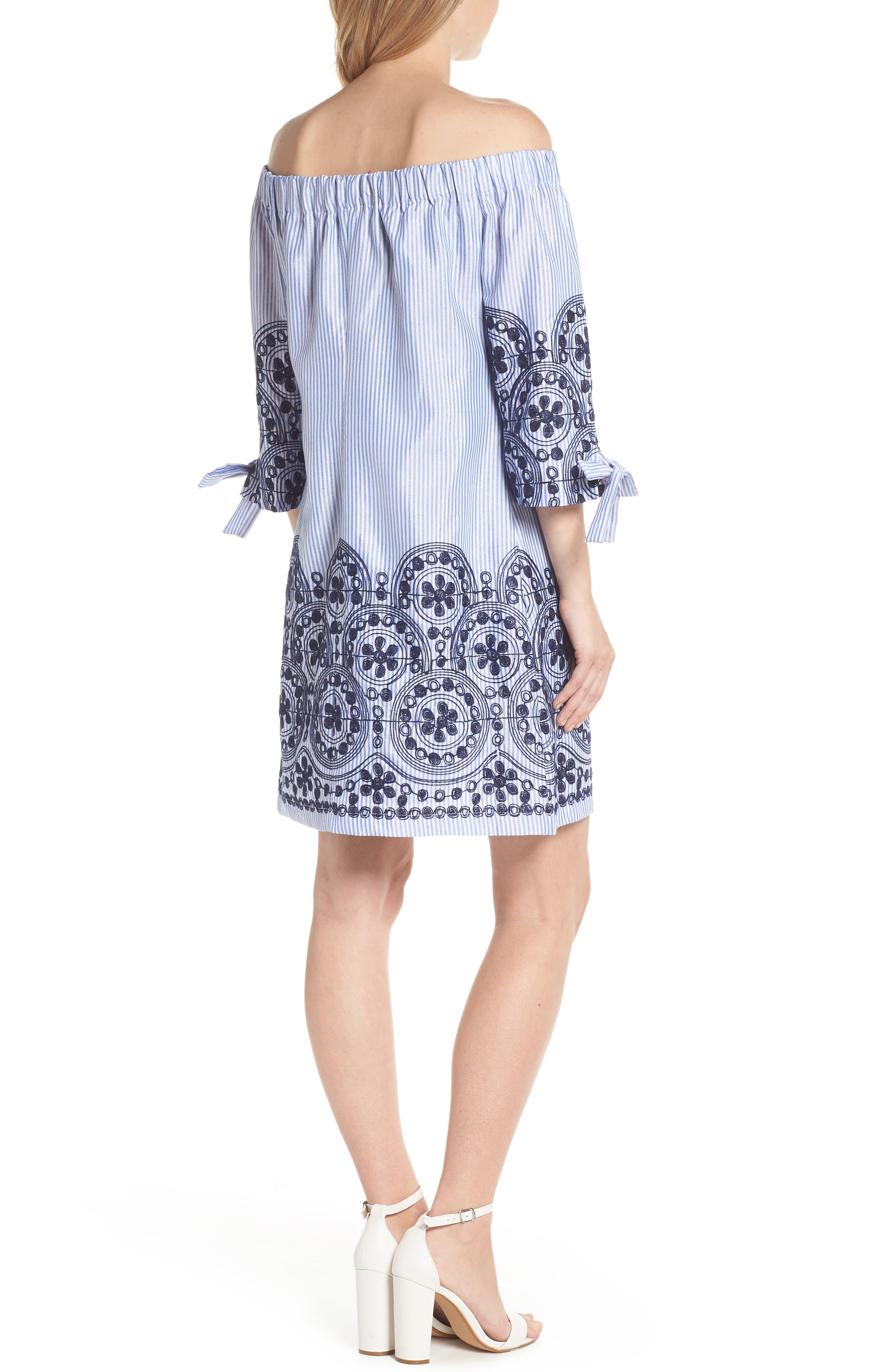 Off the Shoulder Stripe Embroidered Shift Dress,                             Alternate thumbnail 2, color,                             Navy Multi