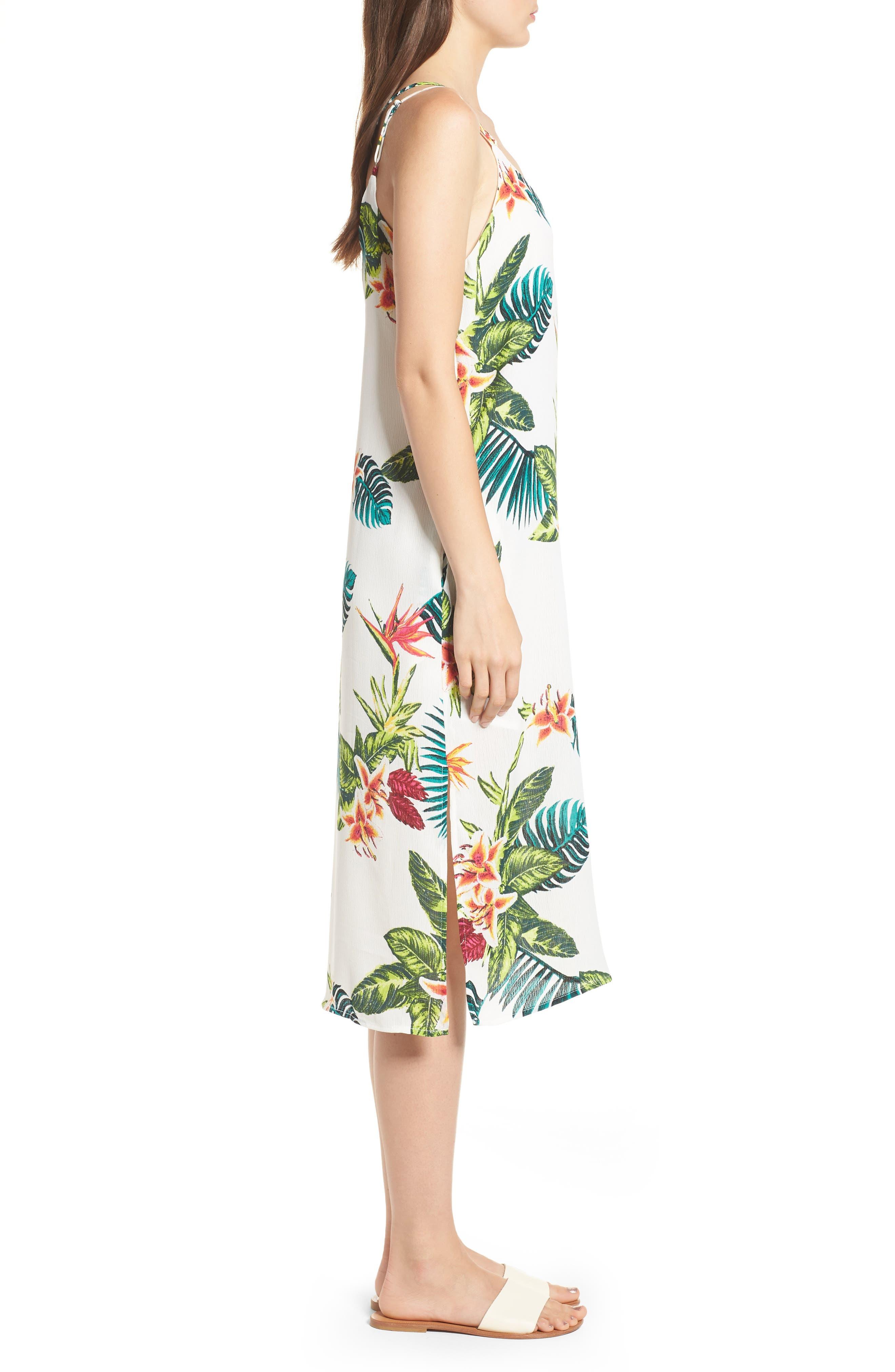 Strappy Floral Print Midi Dress,                             Alternate thumbnail 3, color,                             Cream/ Fuchsia
