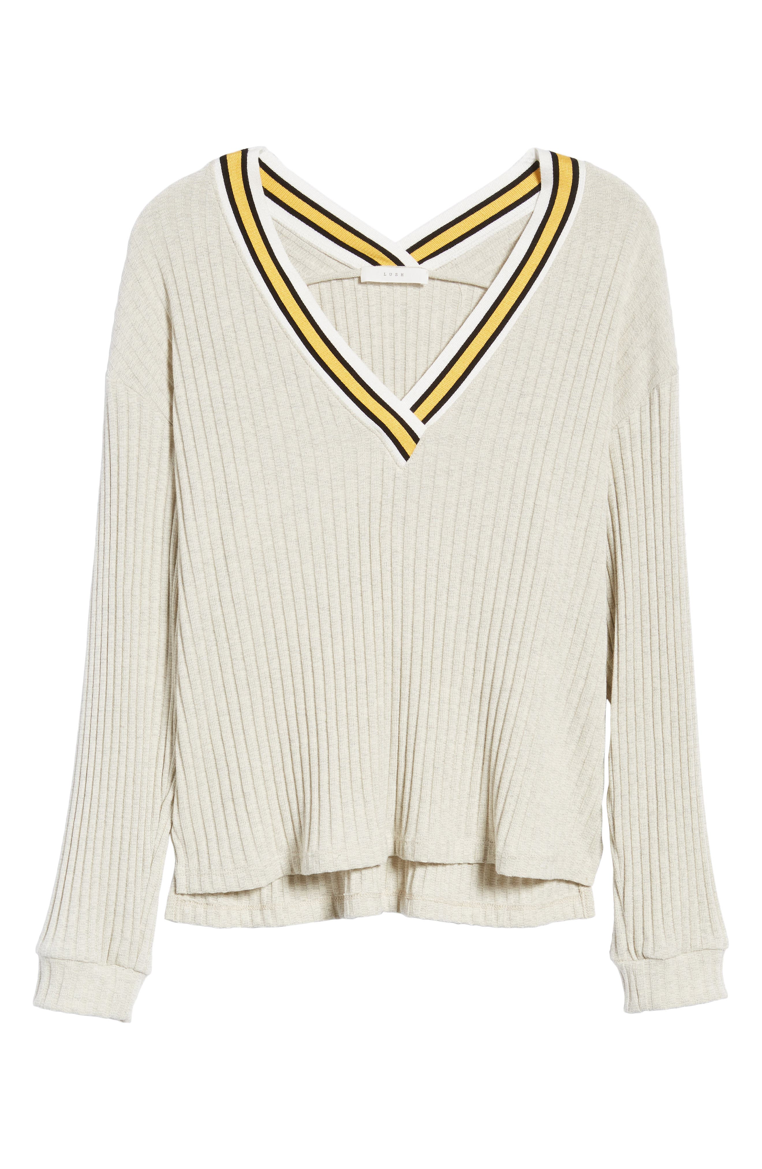 Varsity Stripe Ribbed Sweater,                             Alternate thumbnail 6, color,                             Oatmeal