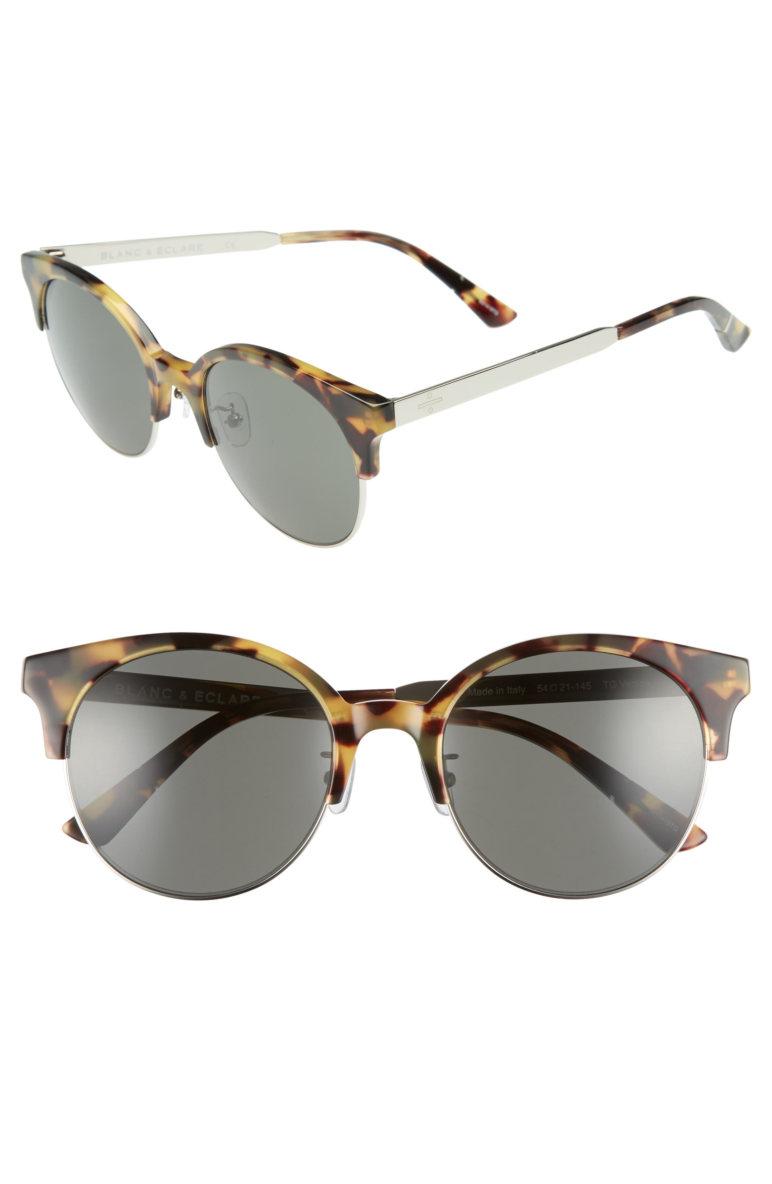 BLANC & ECLARE Venice Round Sunglasses,                             Main thumbnail 1, color,                             Tortoise/ Grey