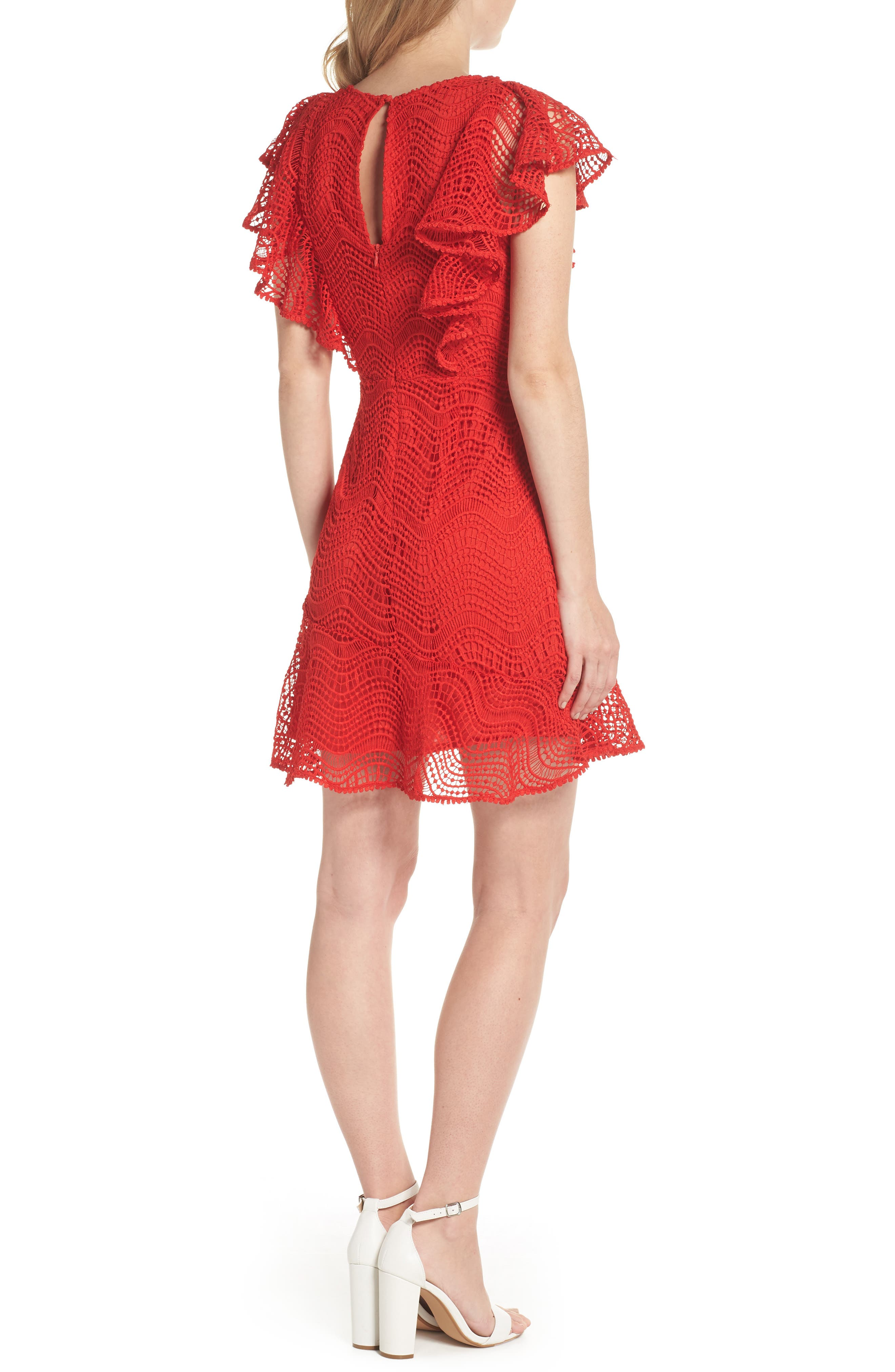 Ruffle Sleeve Lace Fit & Flare Dress,                             Alternate thumbnail 2, color,                             Red Blaze