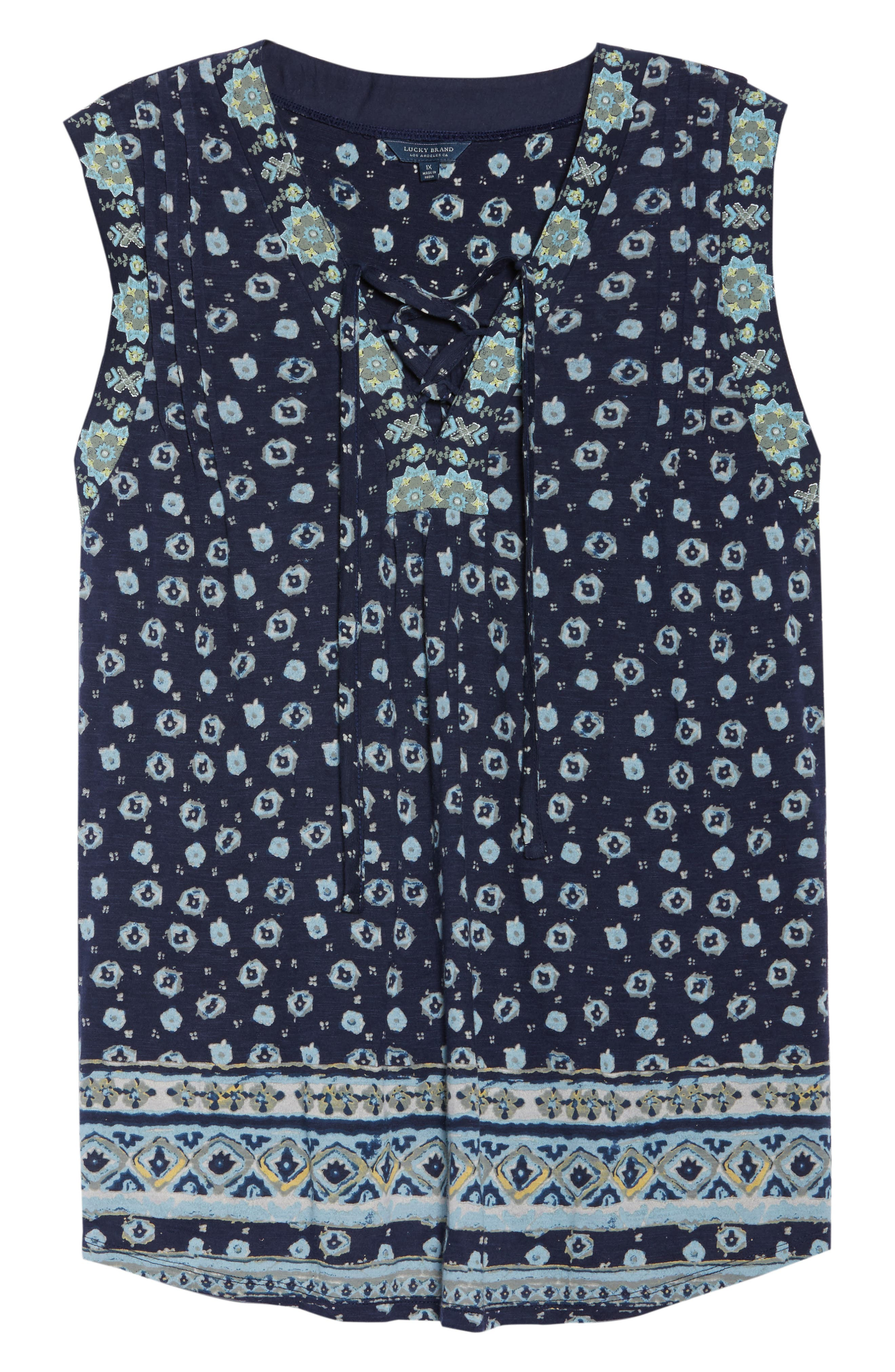 Print Lace-Up Top,                             Alternate thumbnail 7, color,                             Navy Multi