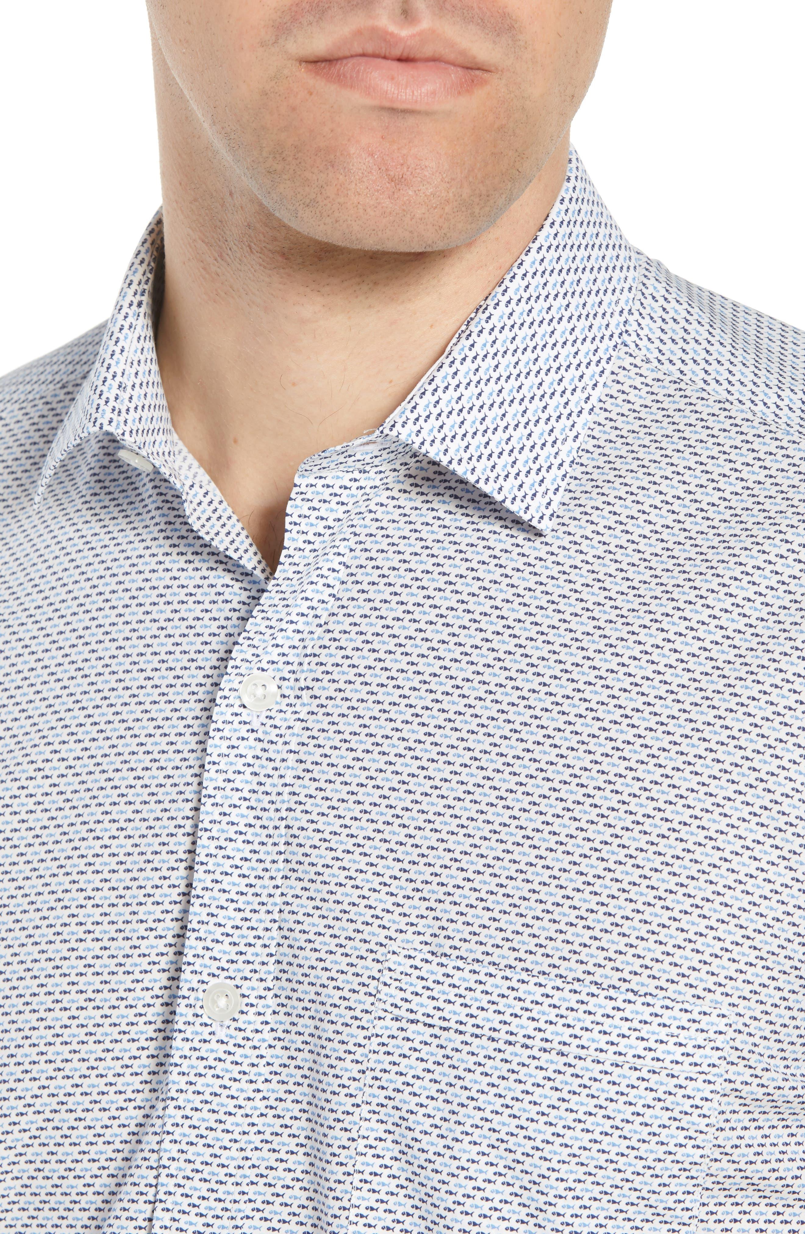 Trim Fit Fish Print Sport Shirt,                             Alternate thumbnail 2, color,                             White