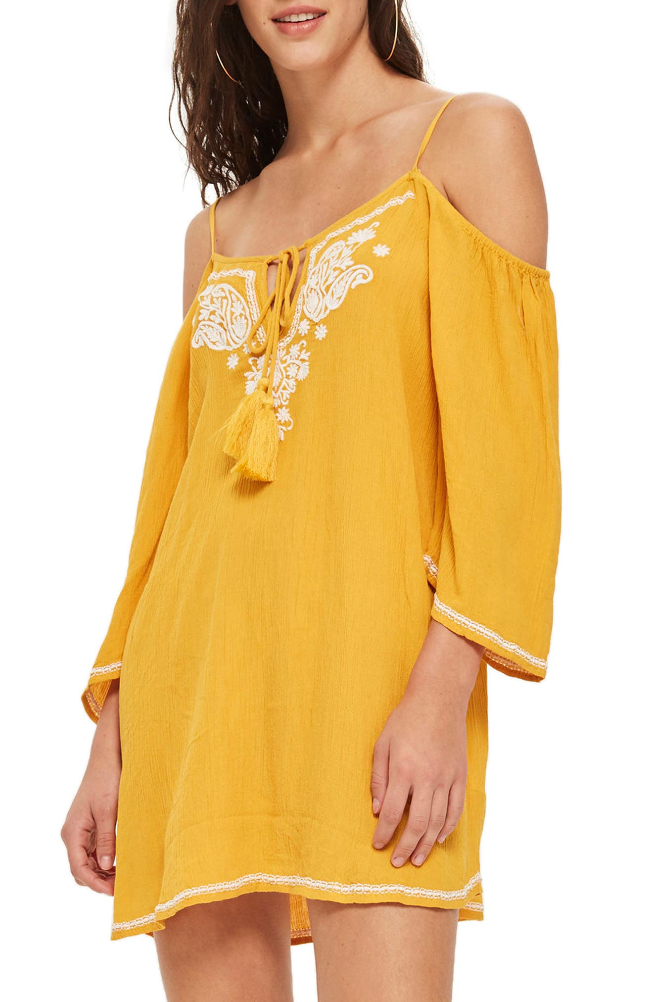 Embroidered Cold Shoulder Shift Dress,                             Main thumbnail 1, color,                             Mustard