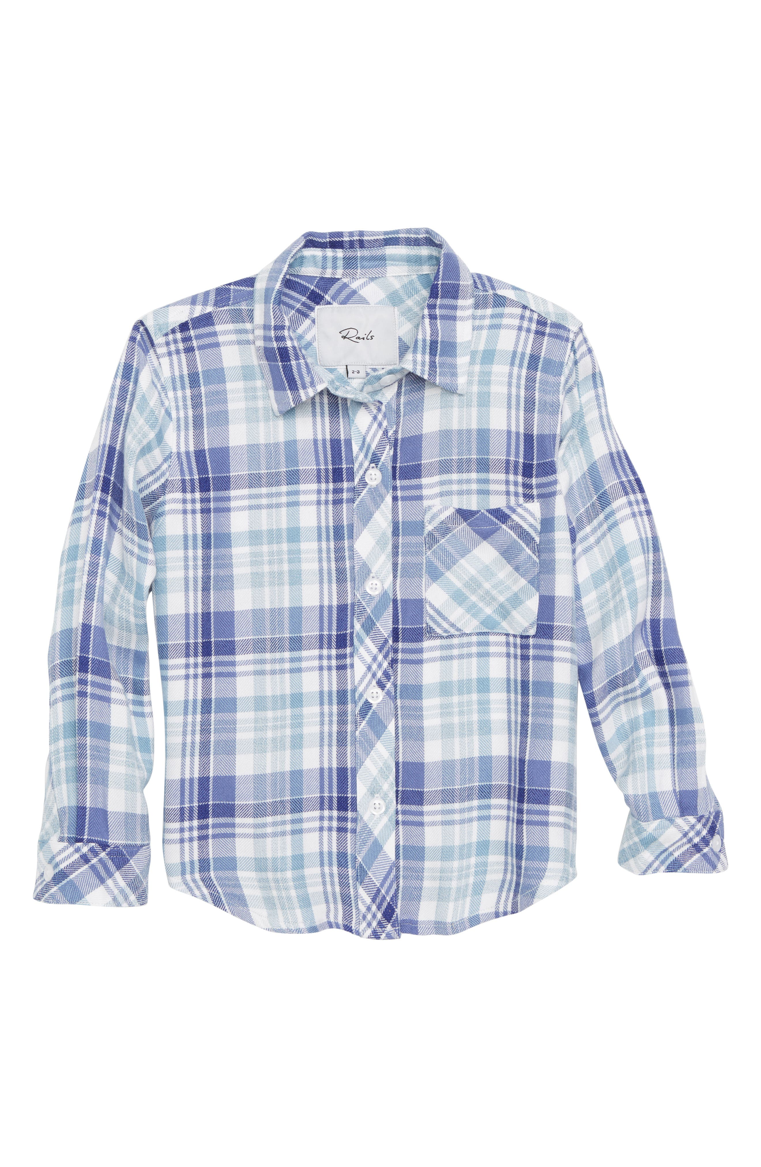 Hudson Plaid Shirt,                             Main thumbnail 1, color,                             Laguna Coast