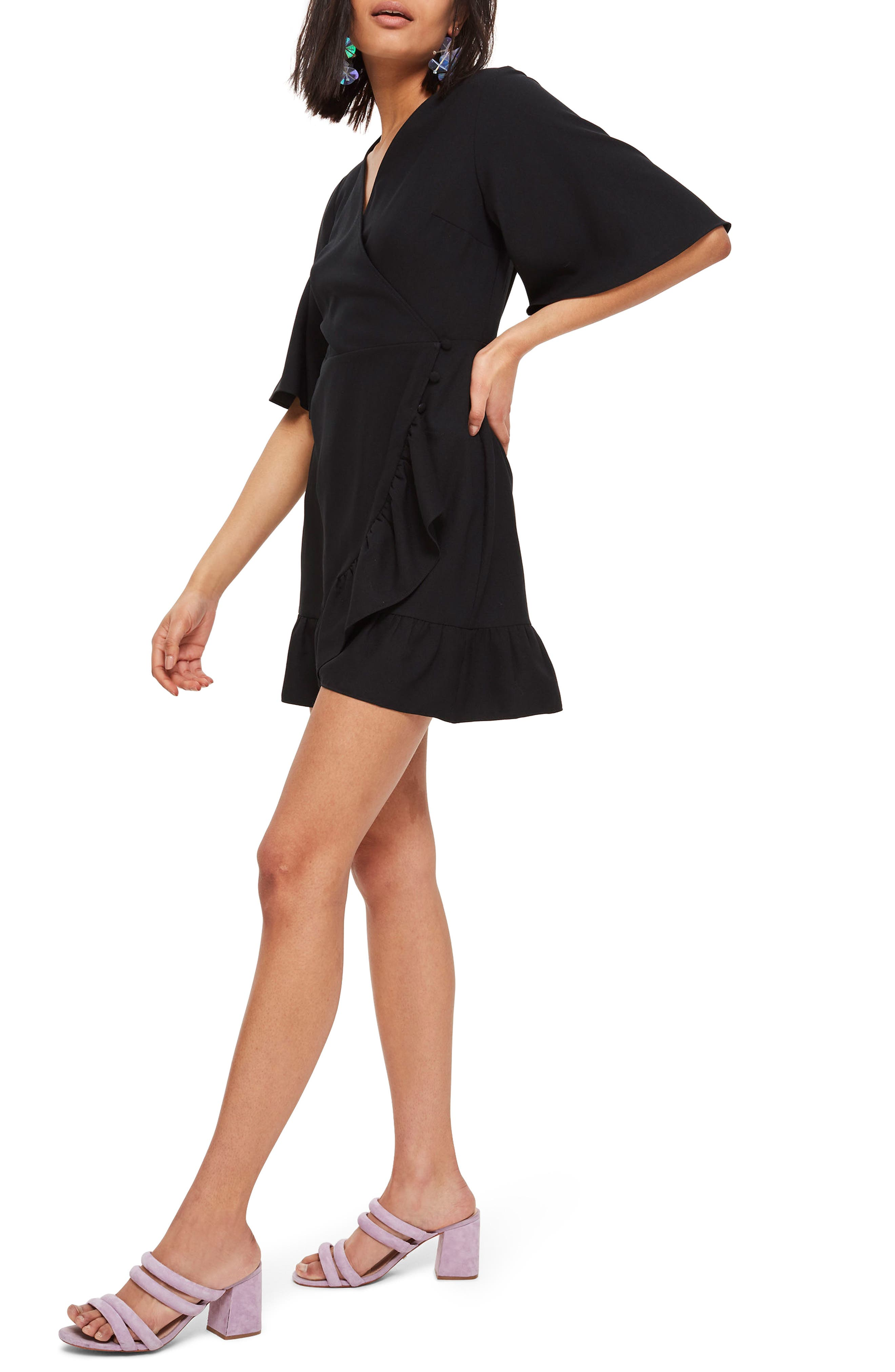 Ruffle Minidress,                             Alternate thumbnail 3, color,                             Black