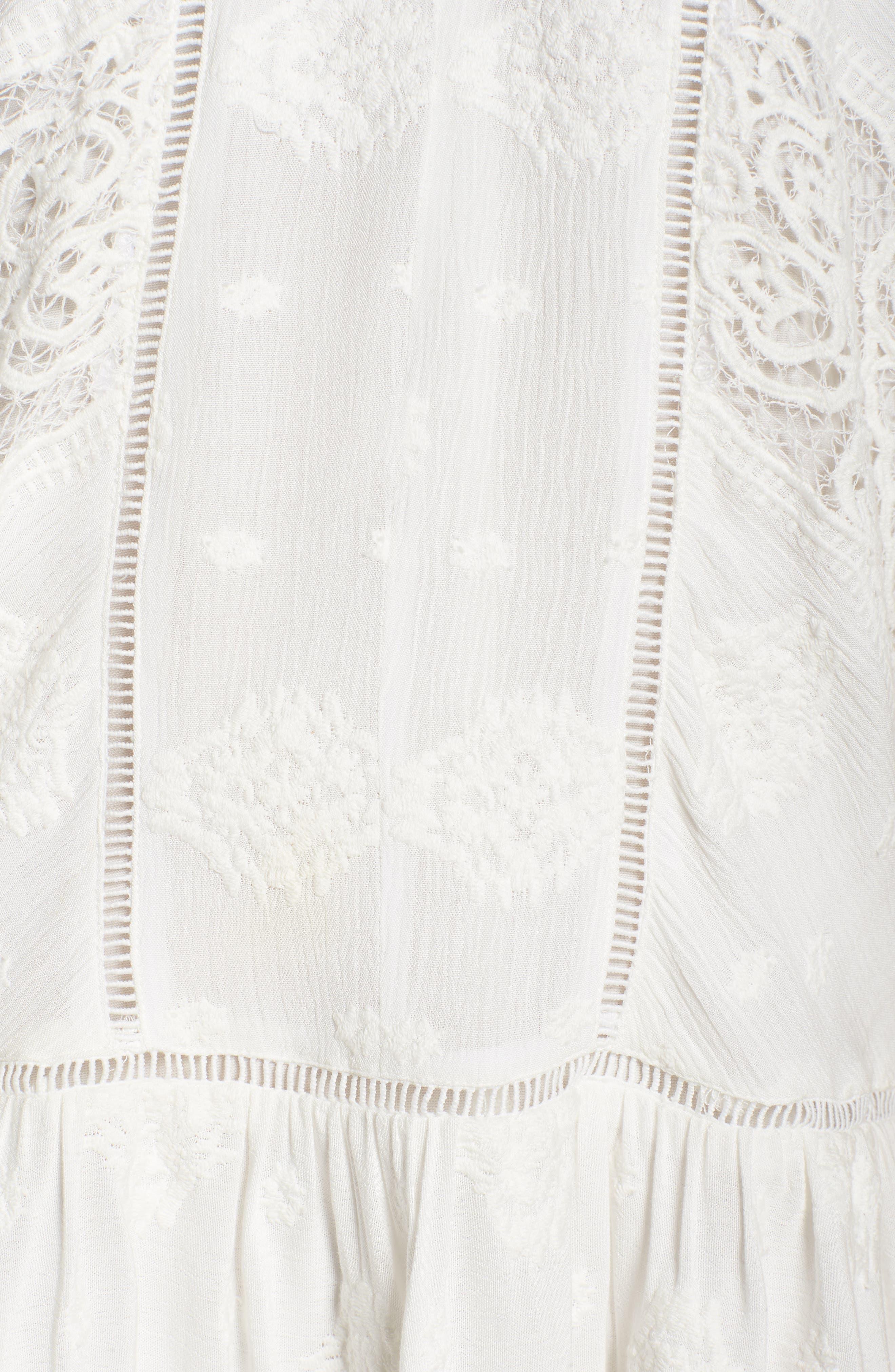 Lace Trim Keyhole Minidress,                             Alternate thumbnail 6, color,                             Ivory