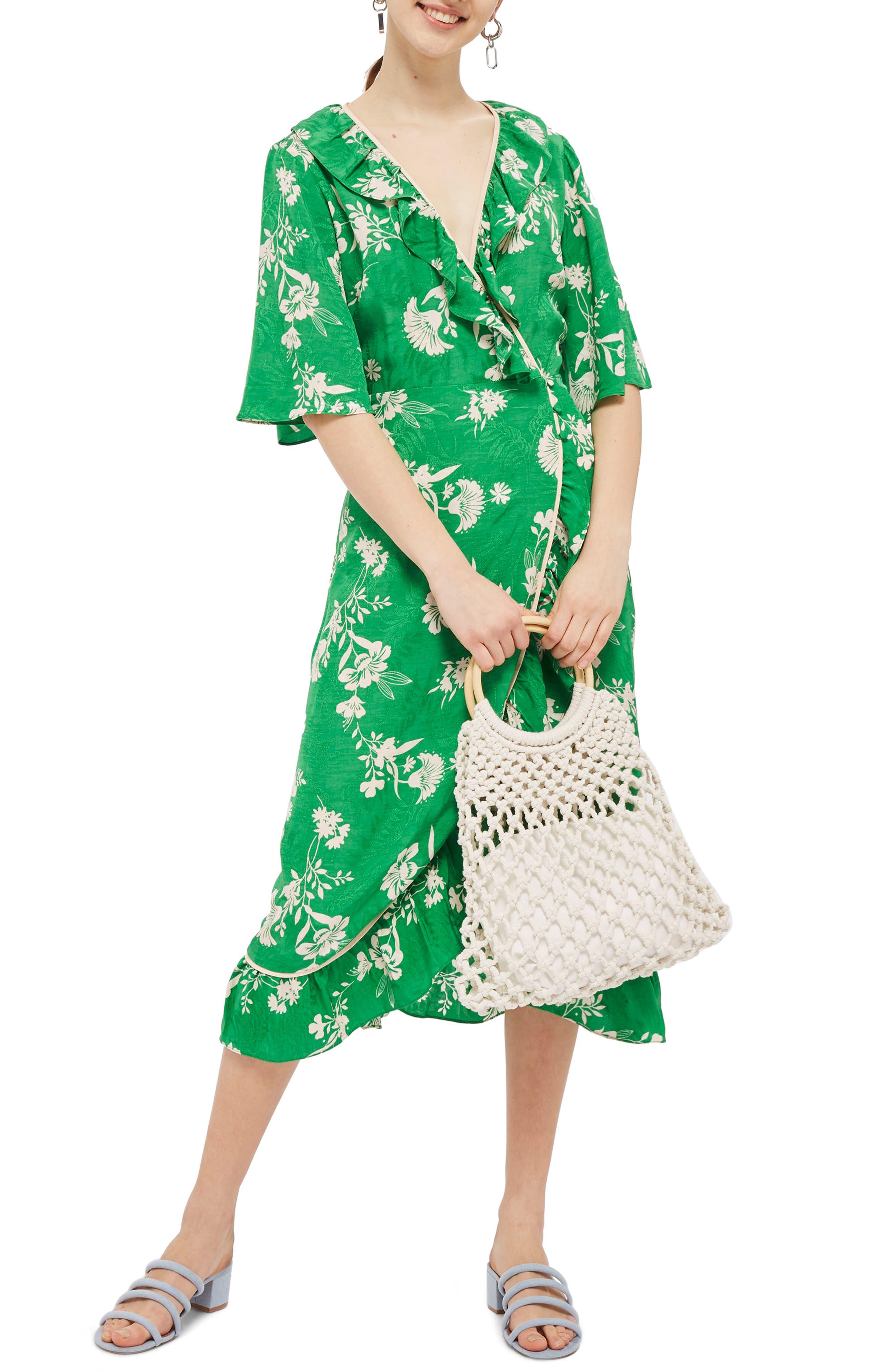 Leaf Print Ruffle Wrap Dress,                             Main thumbnail 1, color,                             Green