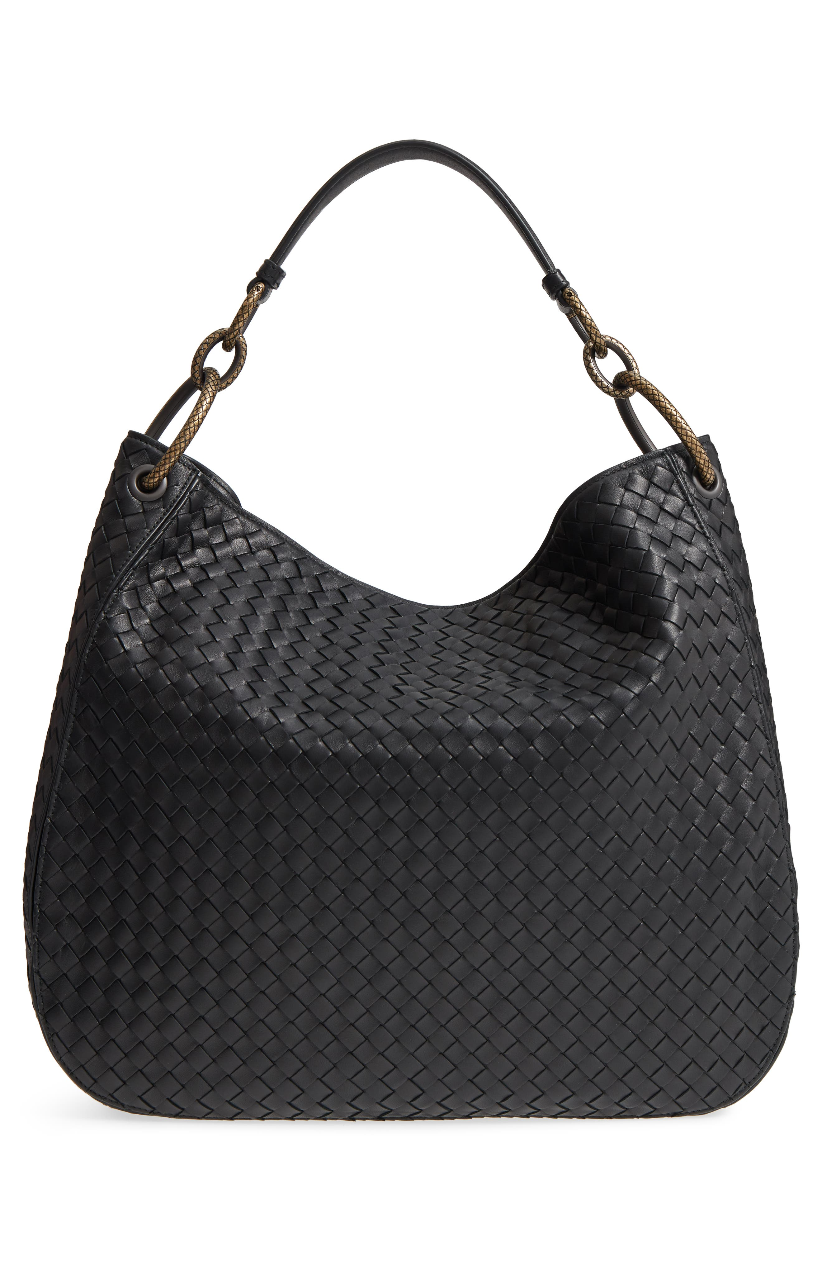 Large Loop Woven Leather Hobo,                             Alternate thumbnail 3, color,                             Nero