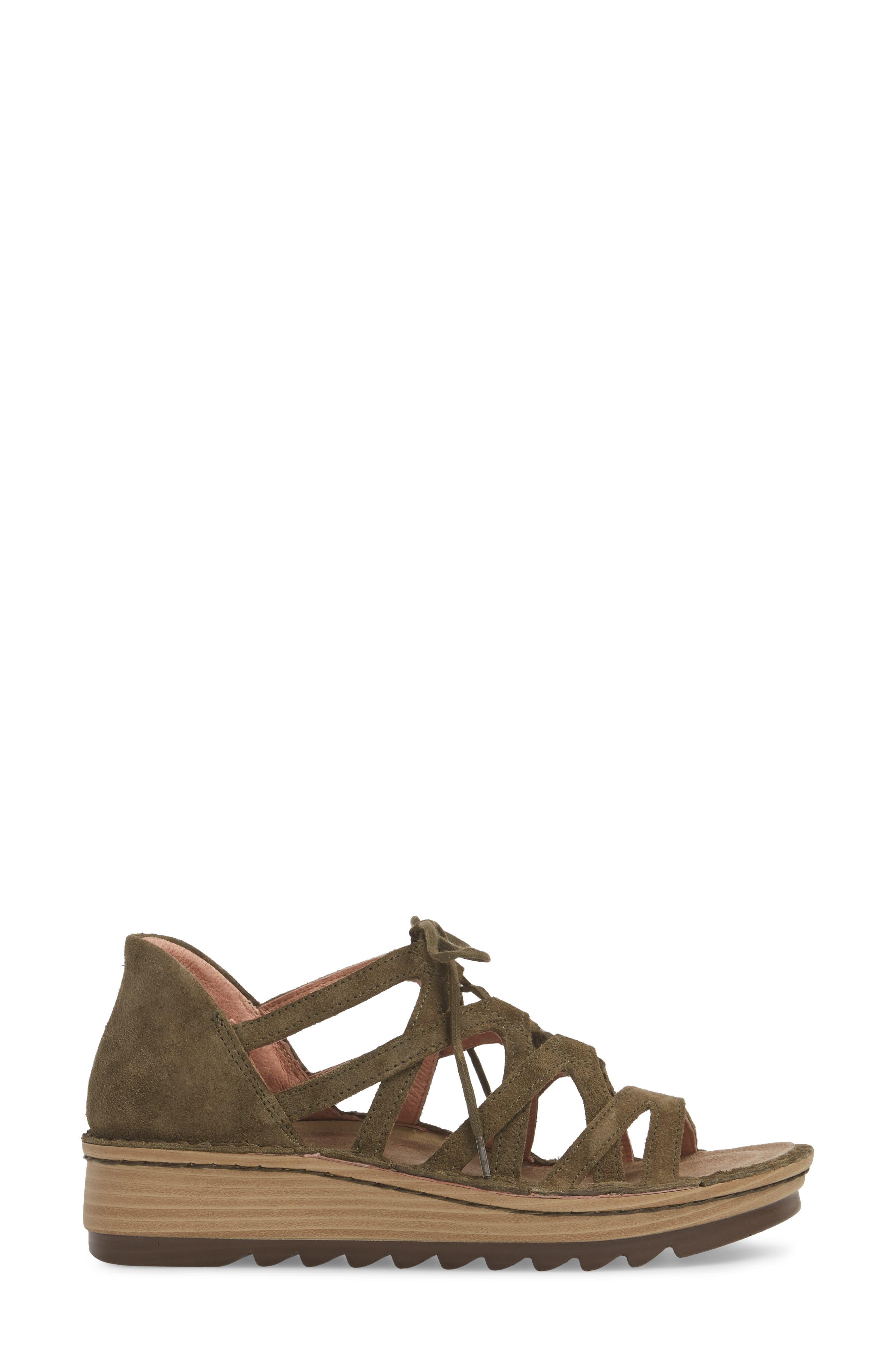 Yarrow Sandal,                             Alternate thumbnail 3, color,                             Oily Olive Suede